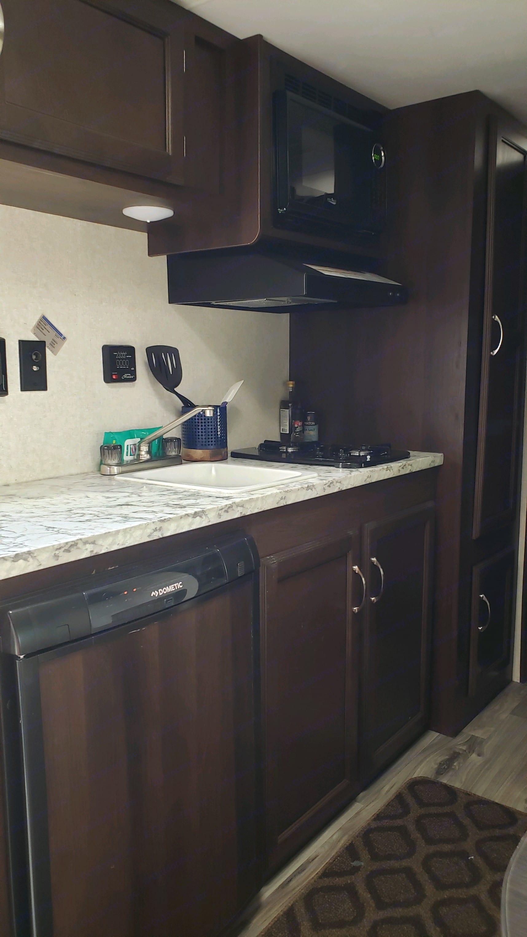 Nice cozy kitchen . Jayco Baja Jay Flight bunk house 2018