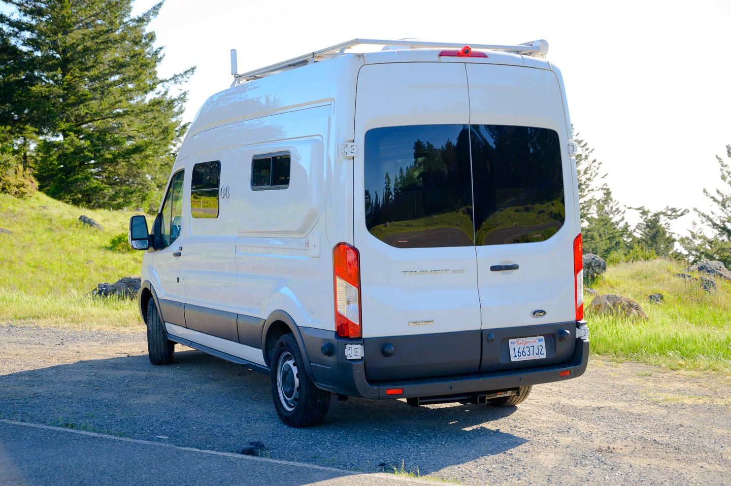 Large tinted back windows. Ford Transit 350 High Roof 2018