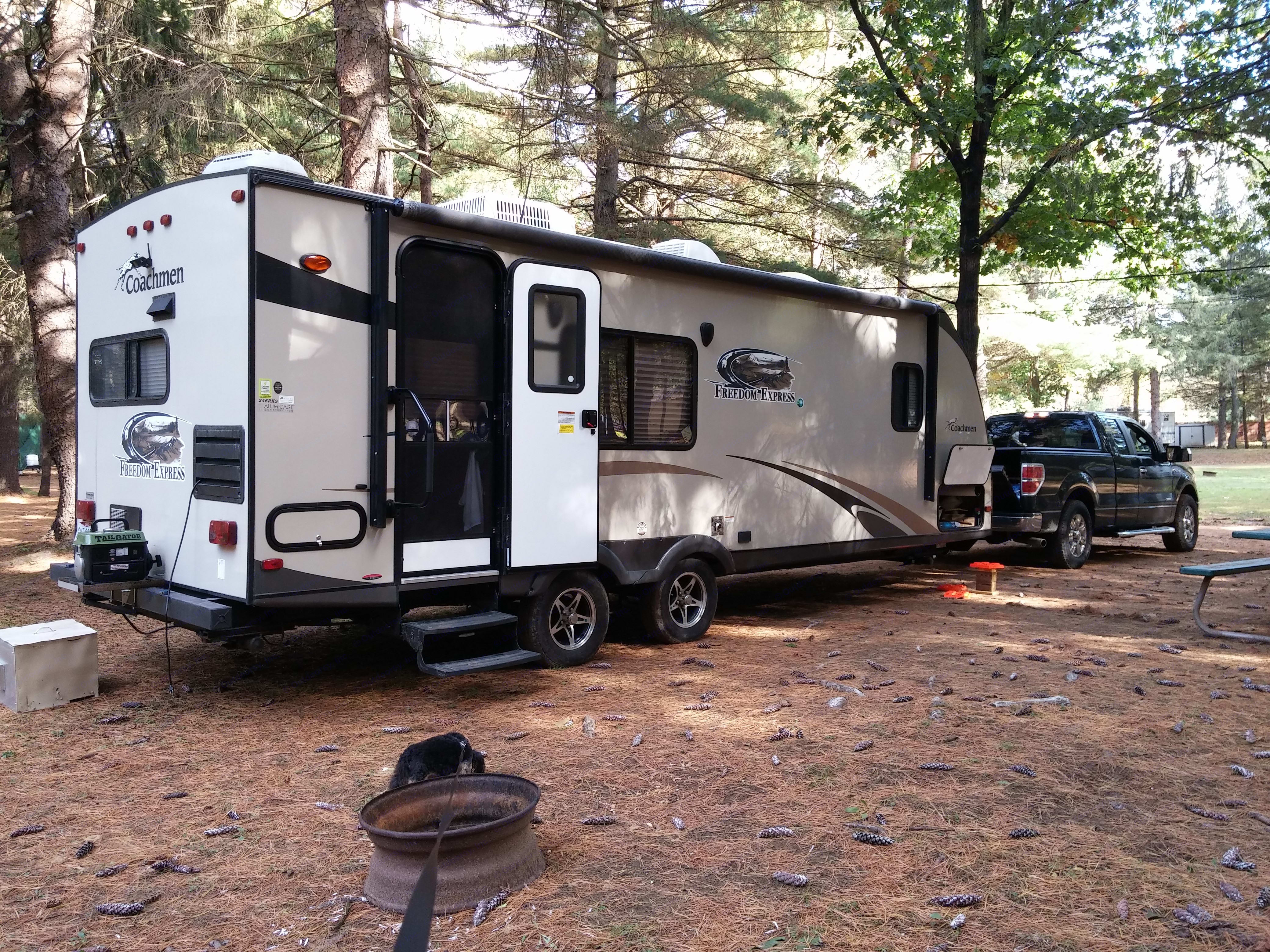 Great air conditioner and furnace. Three step entrance. Dessert of Maine, Freeport, Maine. Coachmen Freedom Express 2013
