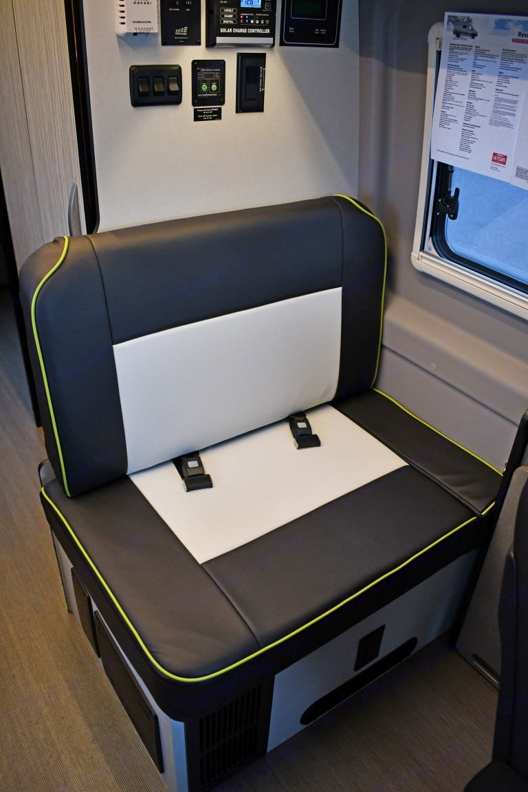 Seating suitable for two passengers with seatbelts, doubles as seating for table and can be converted into sleeping. . Winnebago Mercedes Sprinter 2020