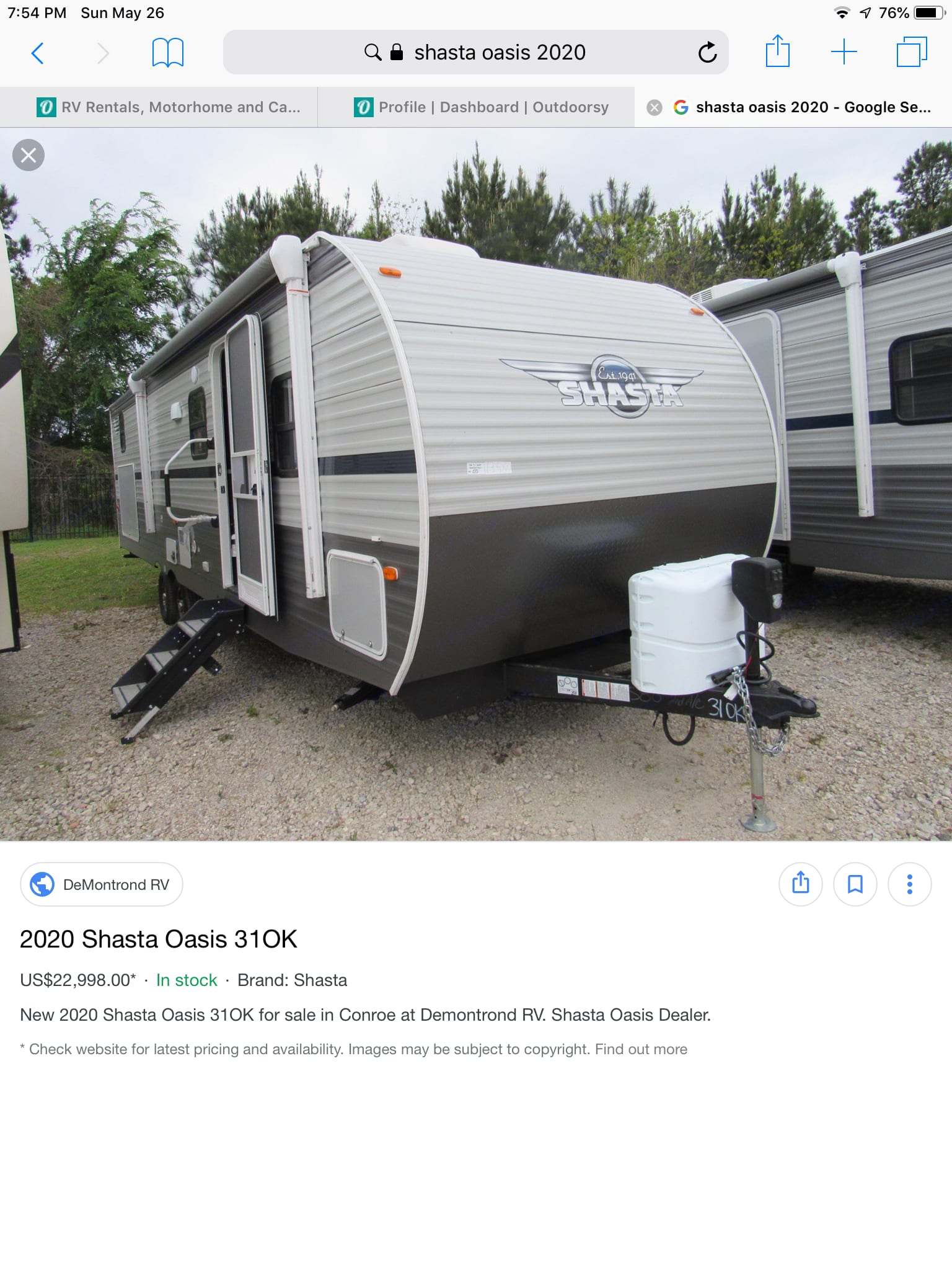 Beautiful brand new 2020 travel trailer. Shasta Oasis 2020