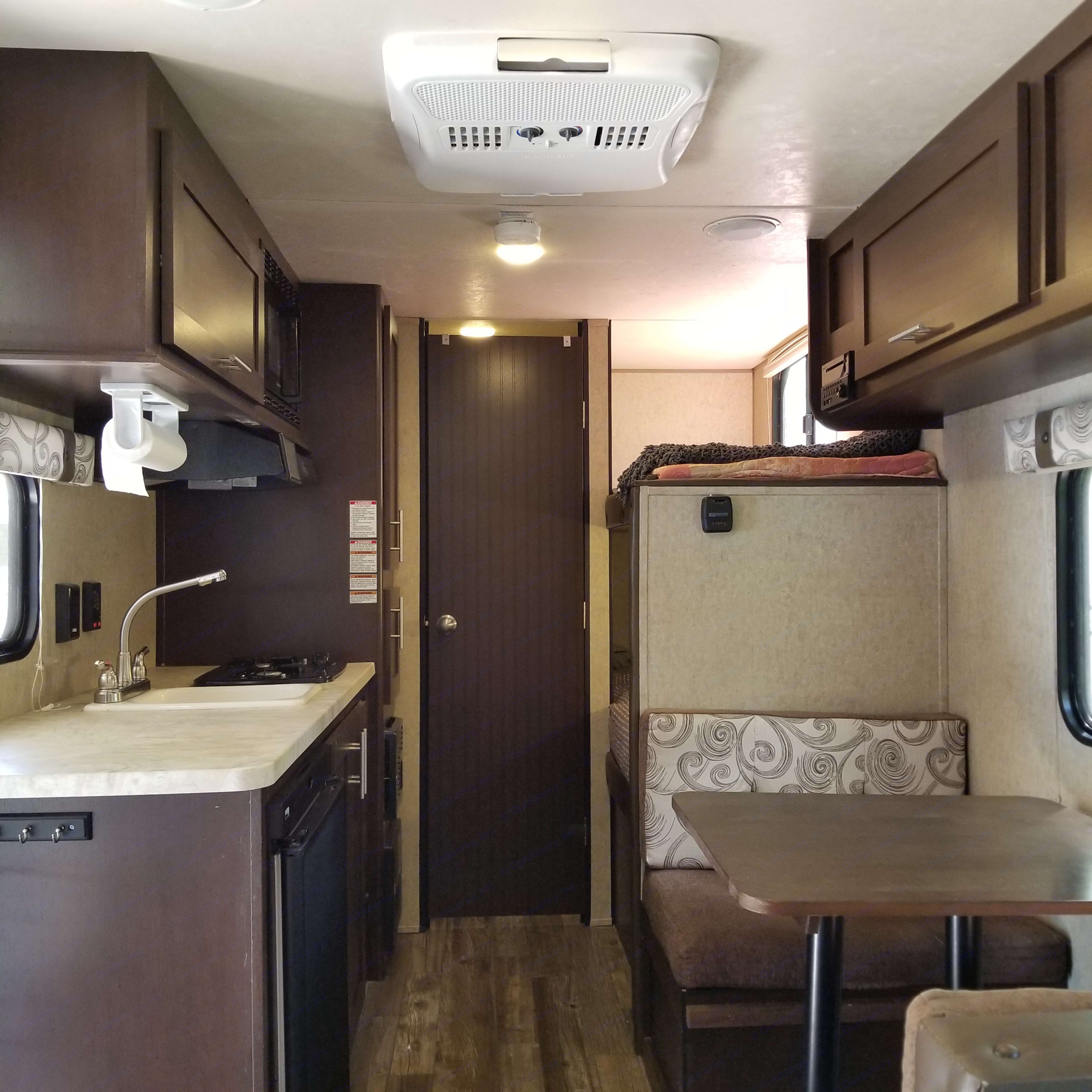 Spacious, yet very cozy layout for this size of trailer. Especially considering how much storage there is. . Forest River Cherokee Wolf Pup 16BHS 2016