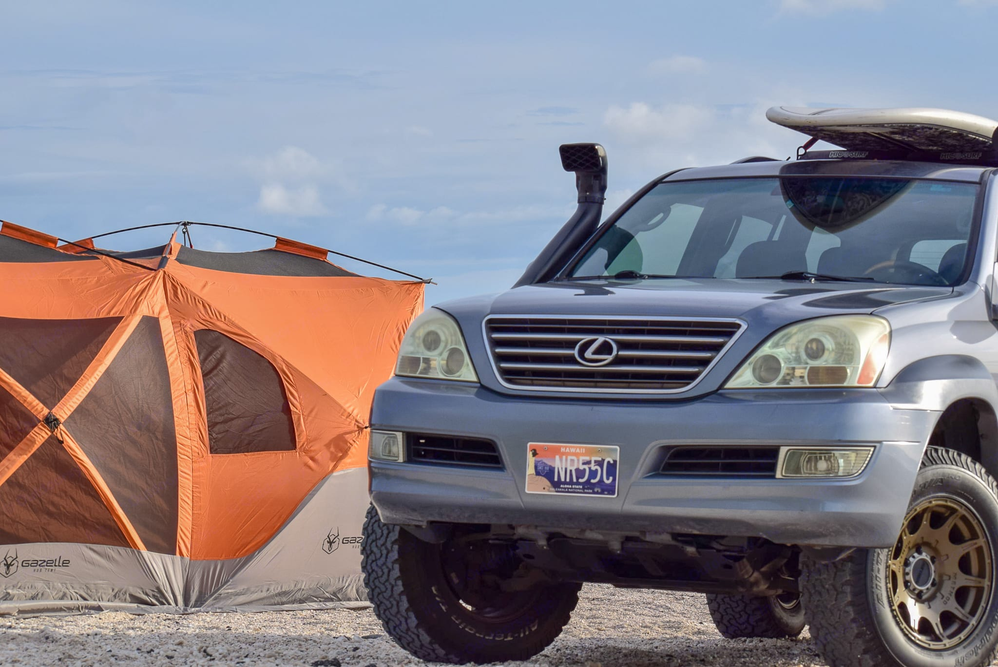 Good looking campsite on beach with your rig and Gazelle tent. Lexus GX 470 2005