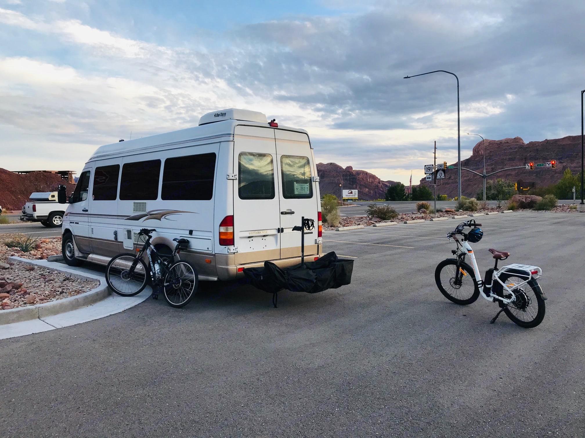 Locking bike rack with cover made the trails at Moab, Utah heavenly!. Roadtrek Adventurous Rs 2006
