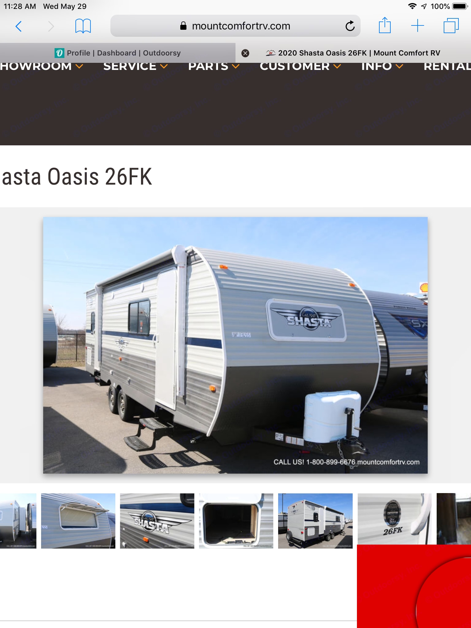 The outside of our 2020 Shasta Oasis Travel Trailer. Shasta Oasis 2020
