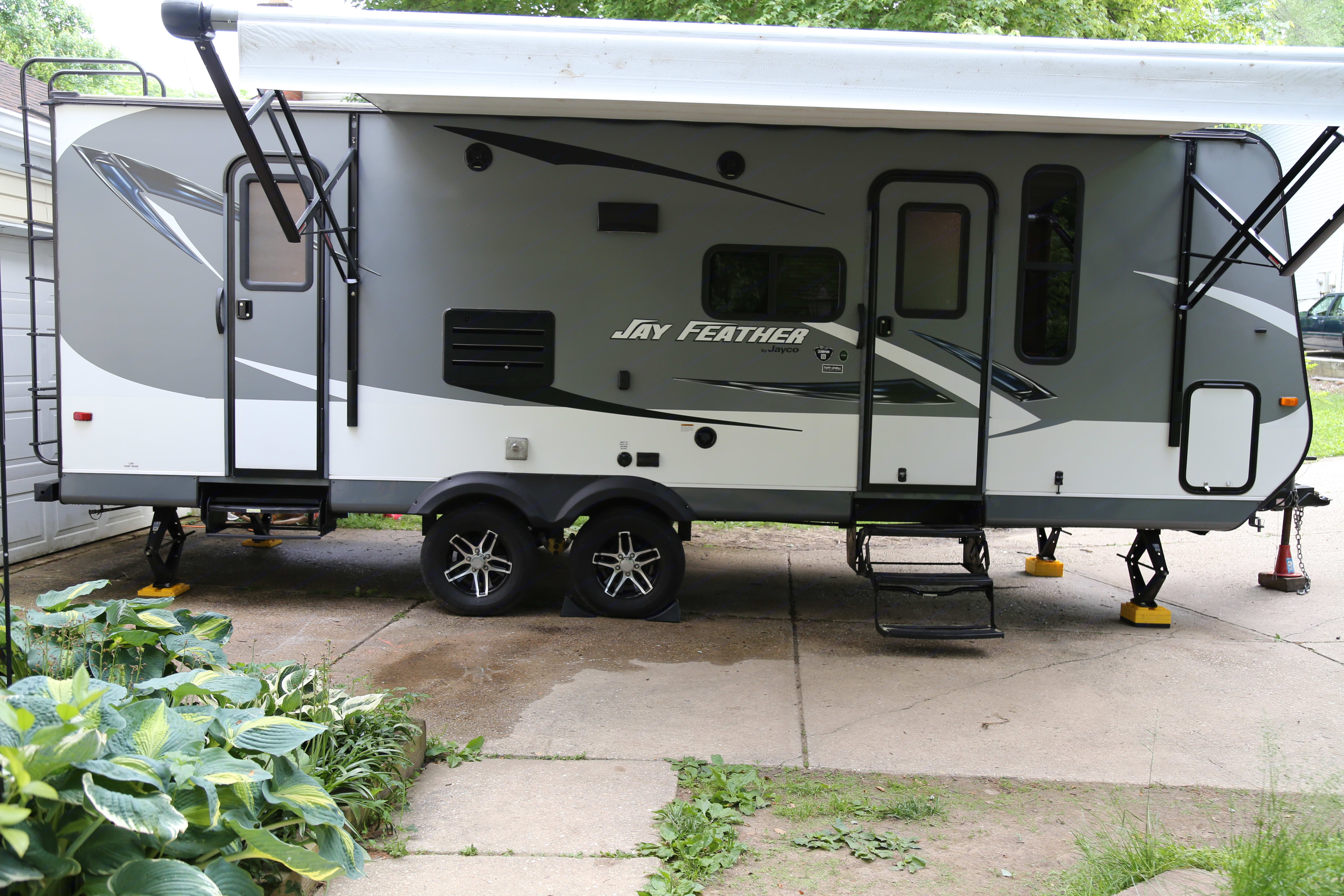 Side view with awning extended.. Jayco Jay Feather 2016