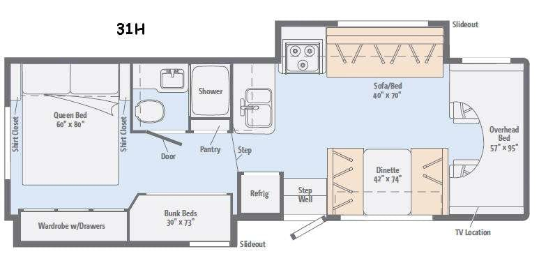 Great Layout provides sleeping for up to 10 people.. Winnebago Minnie Winnie 31H 2016