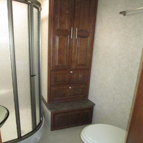 Tons of bathroom storage. Forest River Georgetown 2013