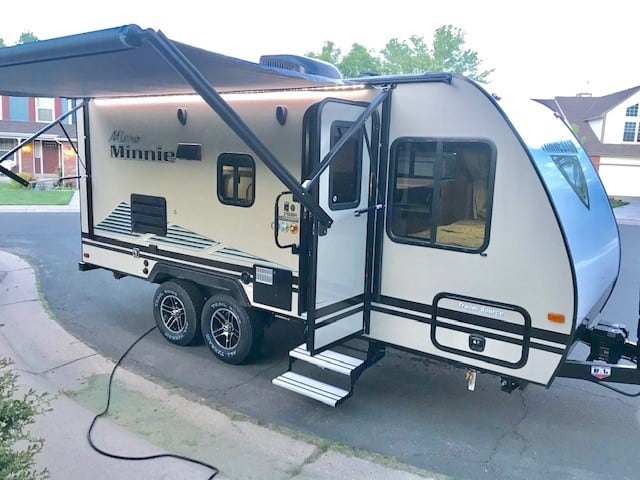 Power awning with outside lighting and speakers. Winnebago Micro Minnie 2020