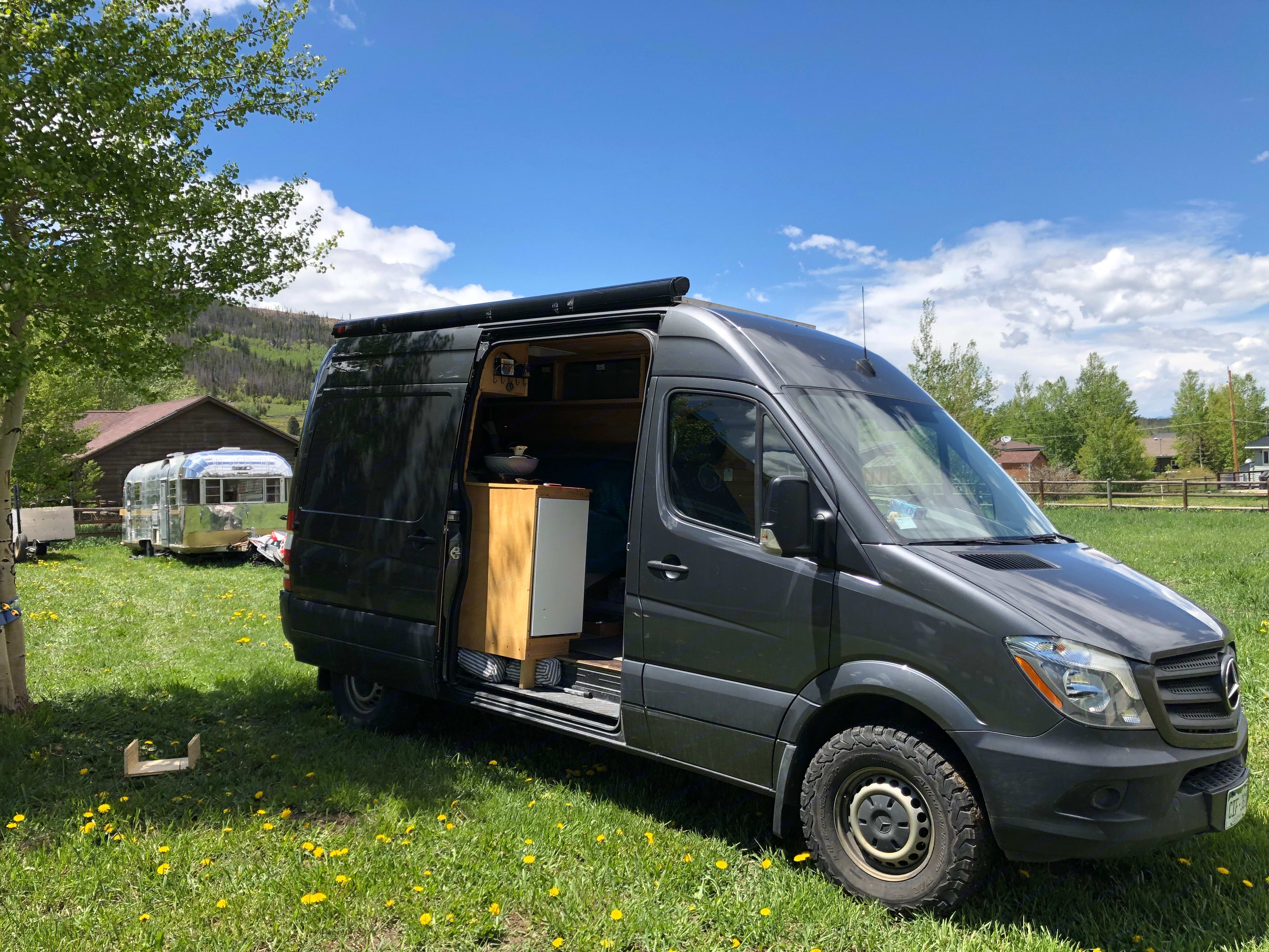 At ~20MPG this 2017 Sprinter is ready for adventure.  Should you encounter cold or rainy evenings you will not even have to get out of the van to get comfortable.includes studded snow tires. Mercedes-Benz Sprinter 2017