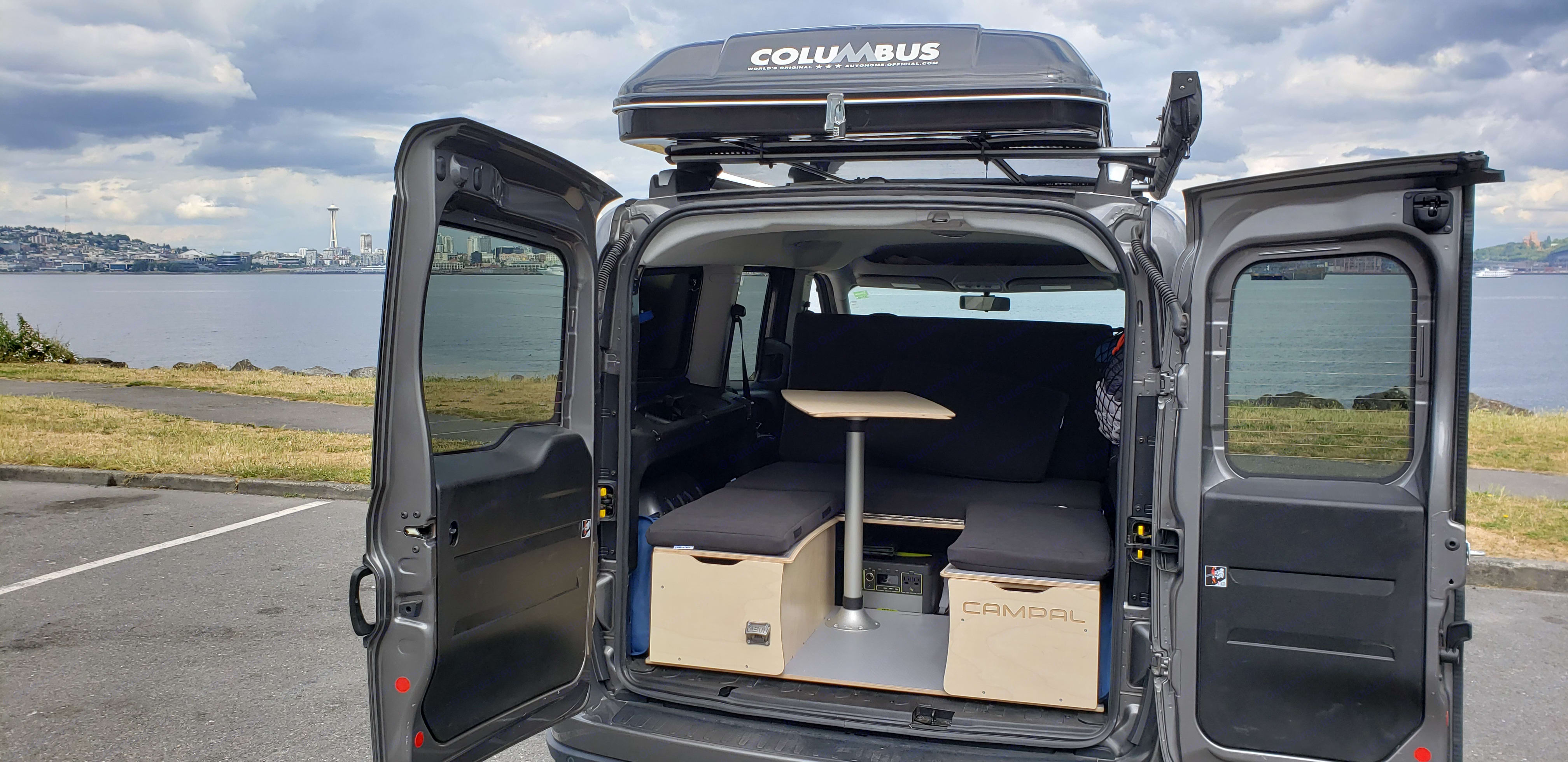 New update photo with Campal camper box. Dodge ProMaster City 2017