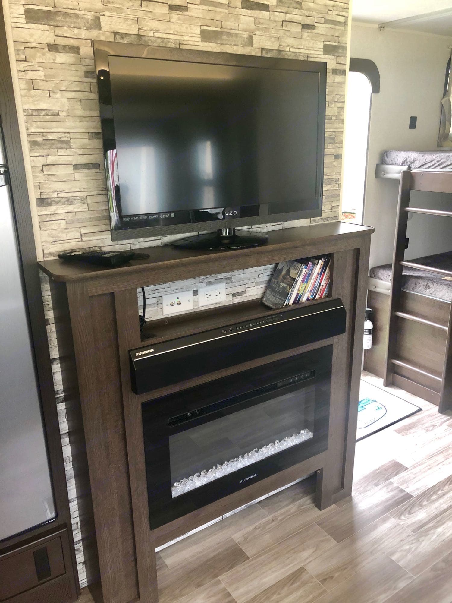Entertainment Center (soundbar, fireplace, tv & DVD player). Forest River Salem 2020