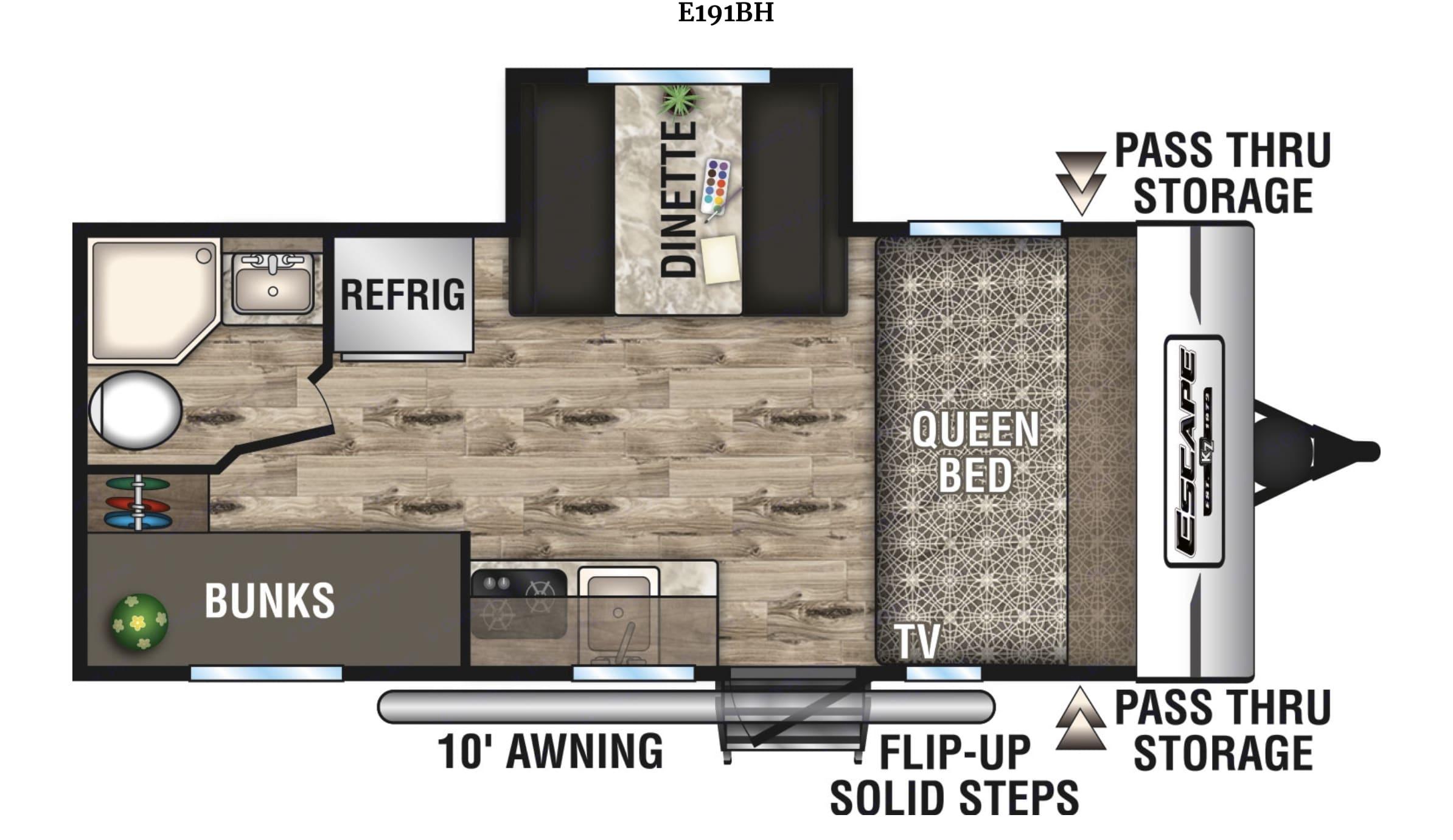 RV Floor Plan. K-Z Manufacturing Spree Escape 2017