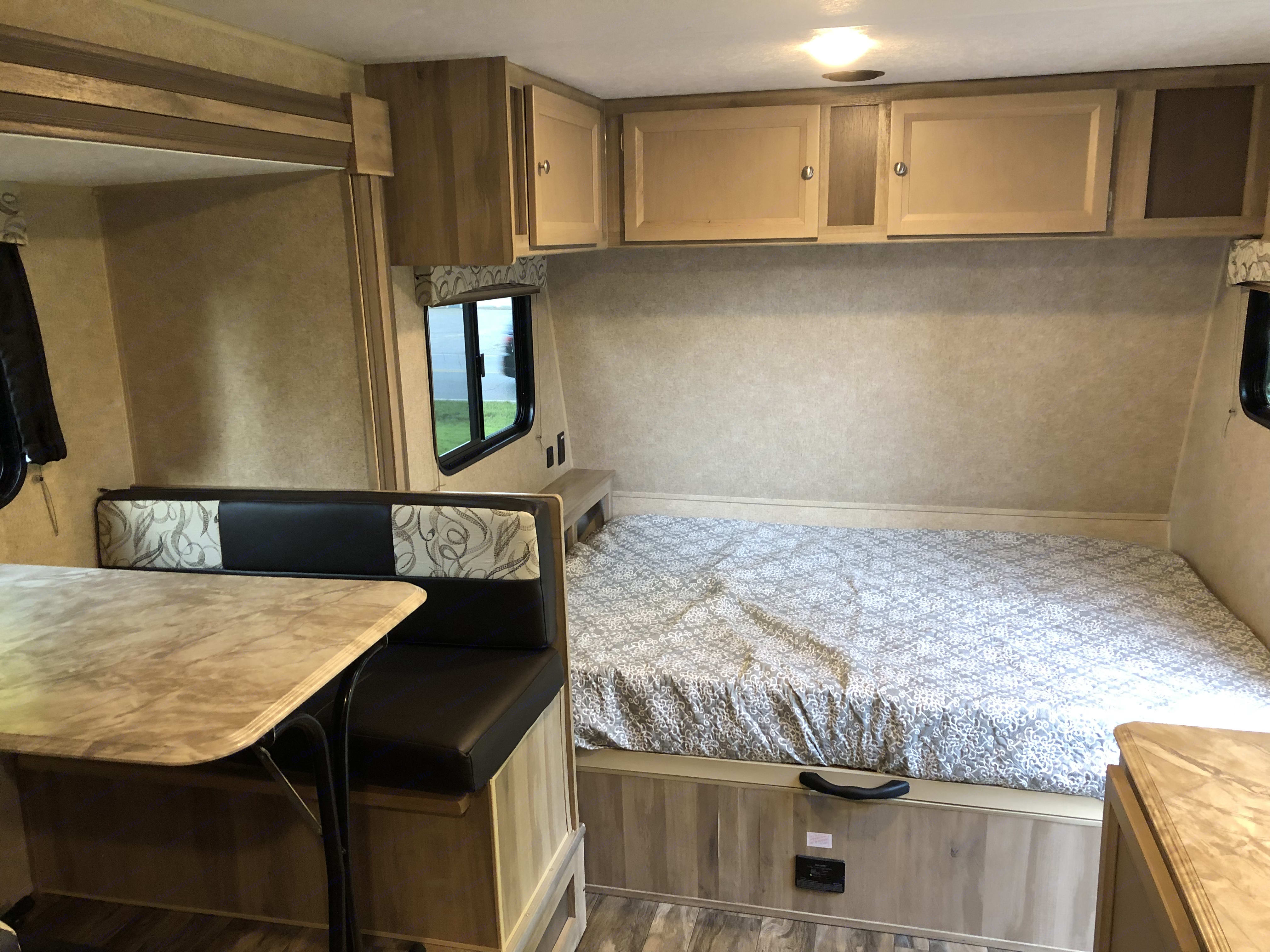 Lots of space w the slide open and full size bed. Coachmen Catalina 2020