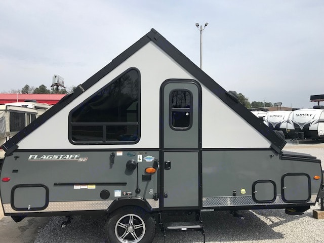front of camper after it is raised with door. Forest River Flagstaff 2018