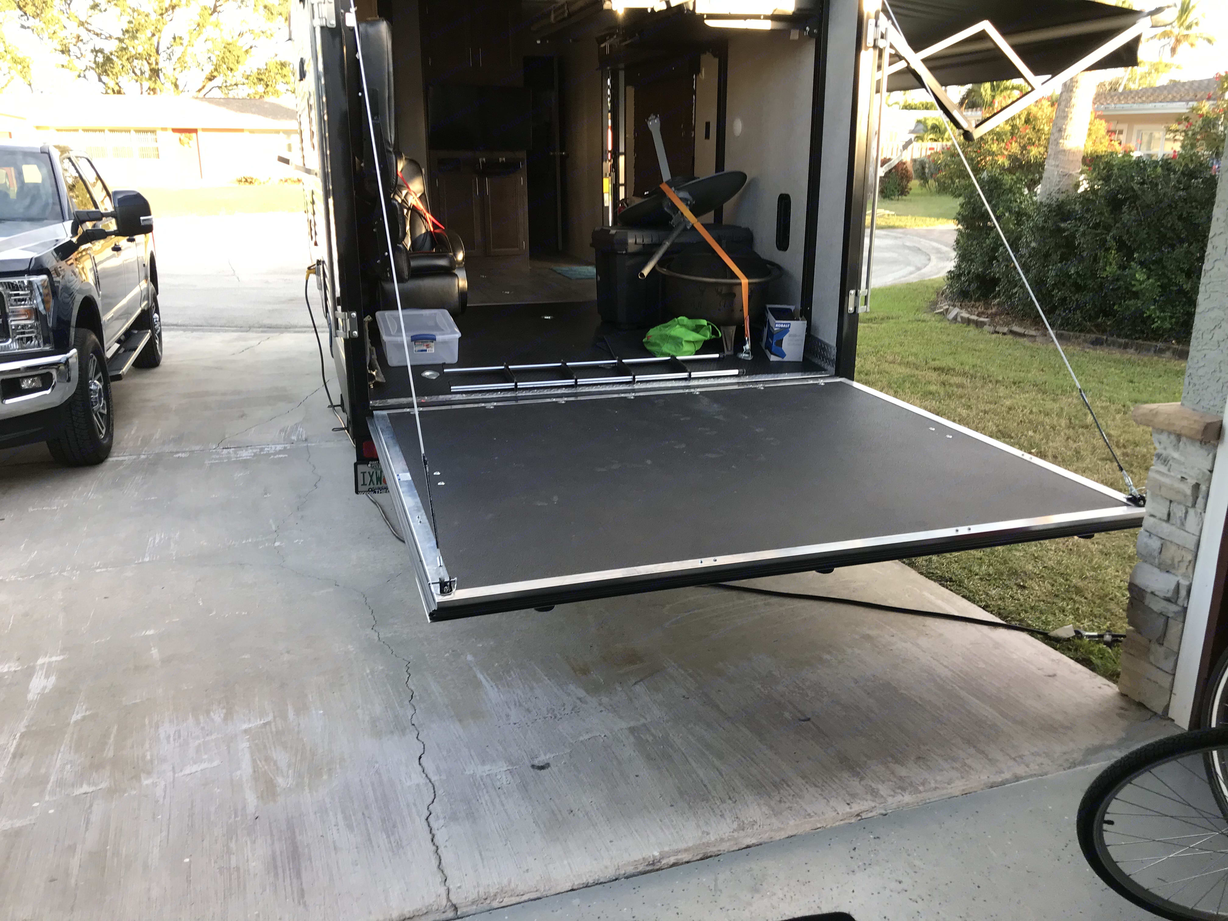 Able to keep ramp door leveled to make into a patio deck. Forest River xlr boost 2018