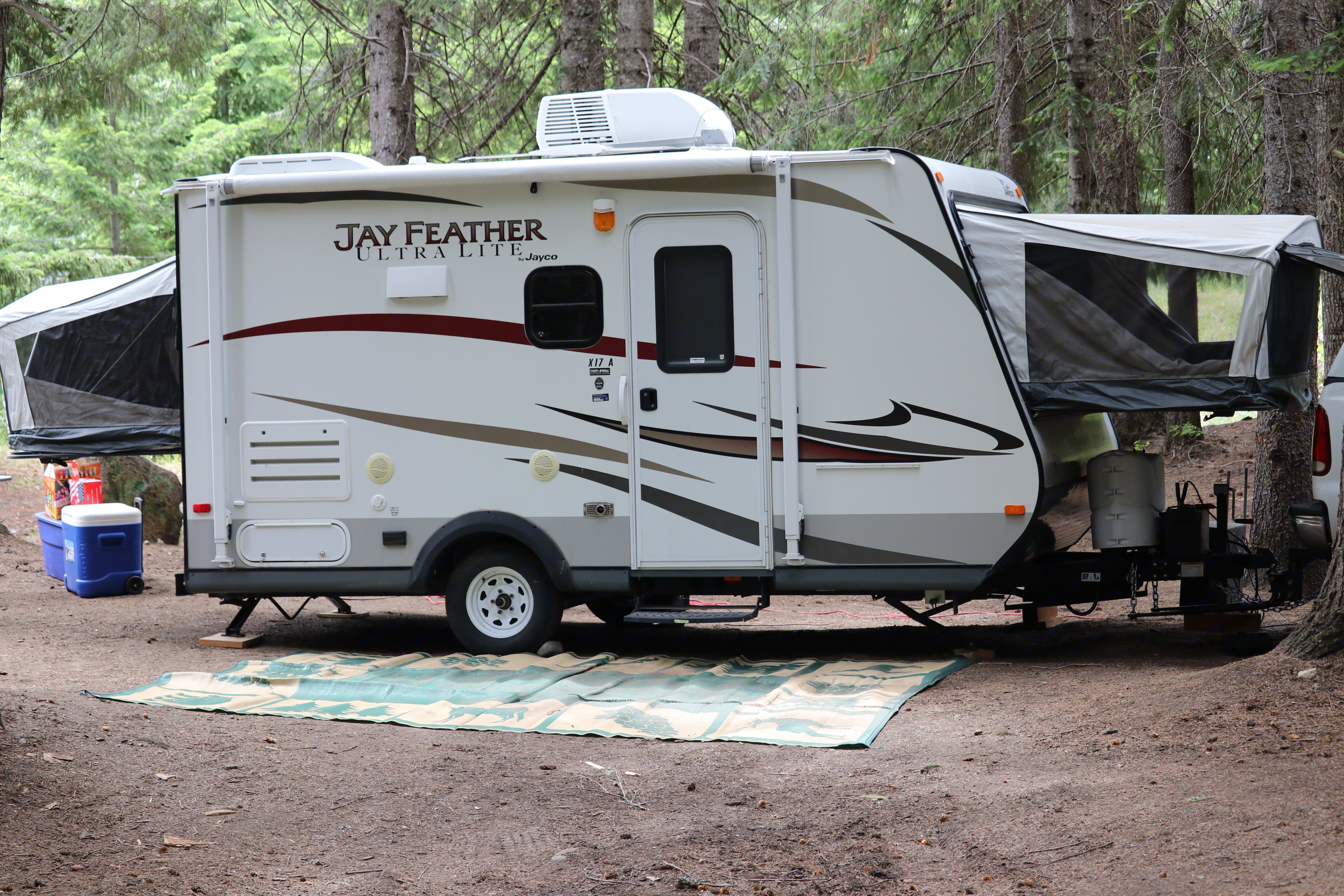 Both beds folded down.  Screens on all 3 sides of each bed for comfort and privacy. Jayco Jay Feather Ultra Lite 2013