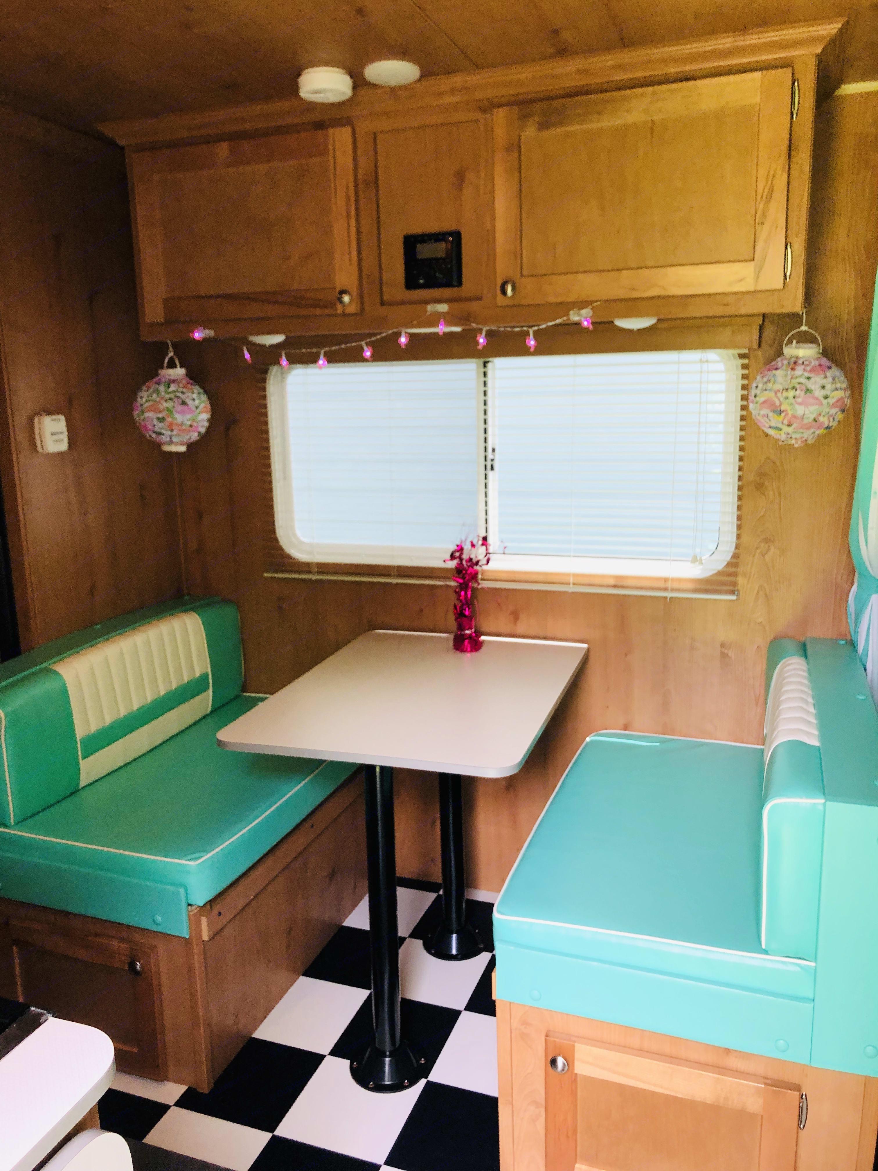 Booth dining area. Riverside Rv Retro 2019