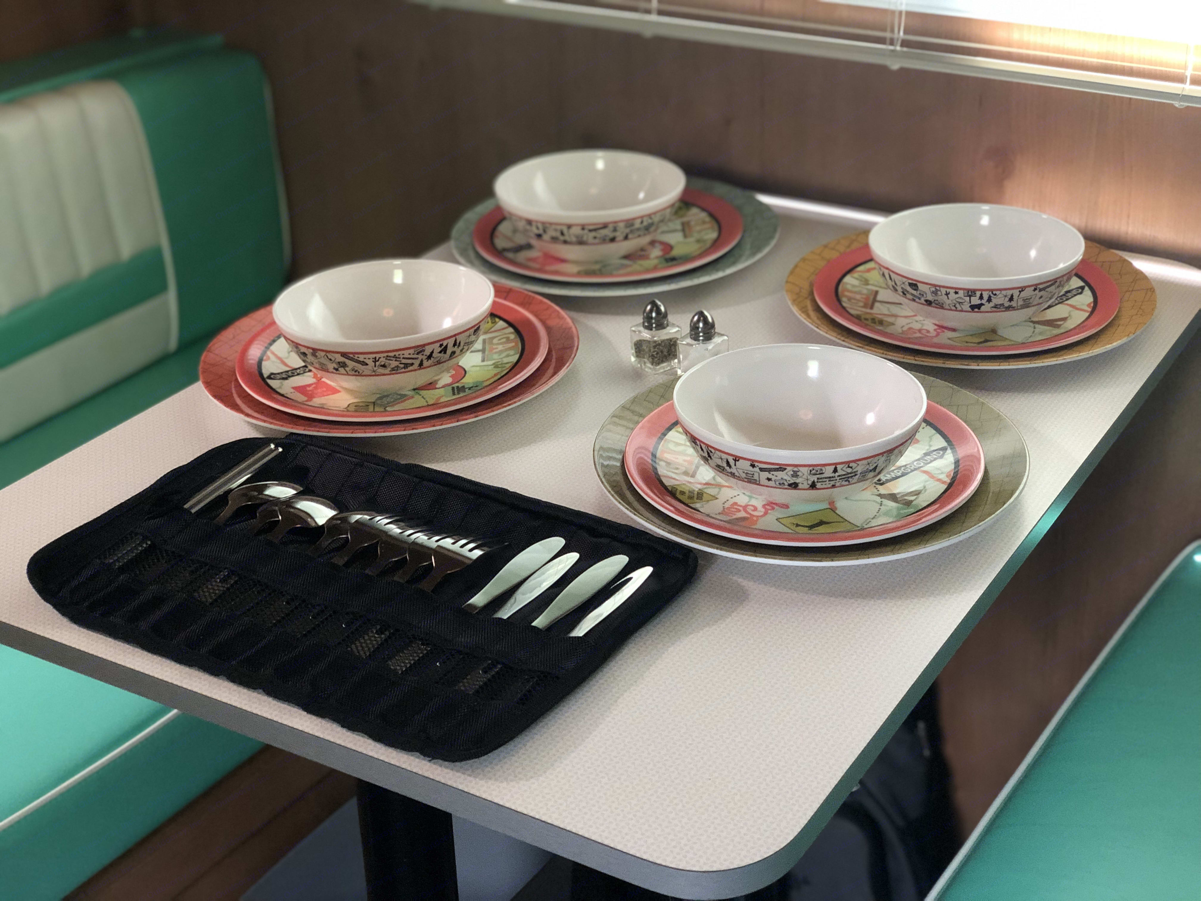 Table setting for four. Riverside Rv Retro 2019