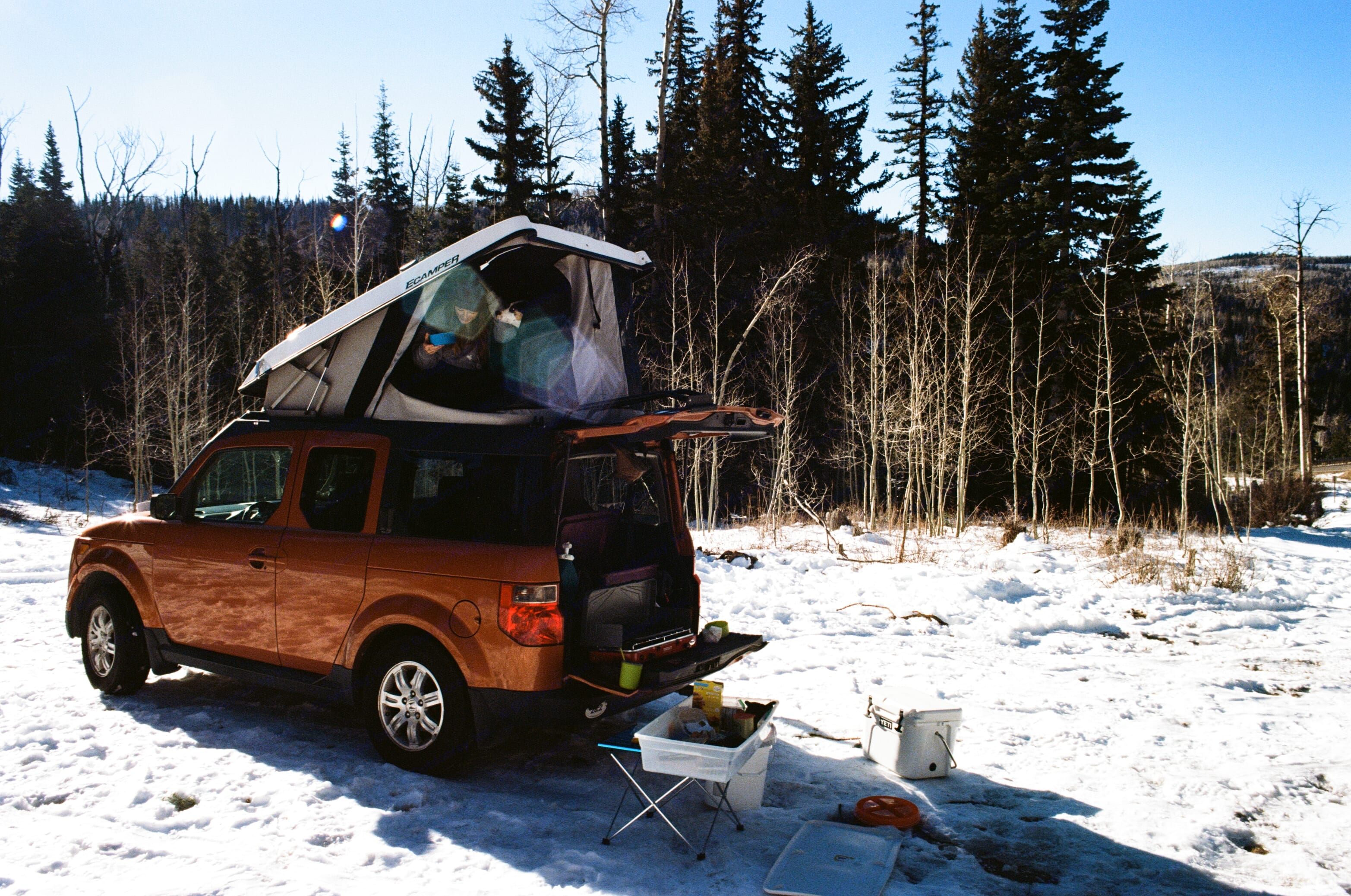 Handles great in the snow and stays warm up top!. Honda Element 2008