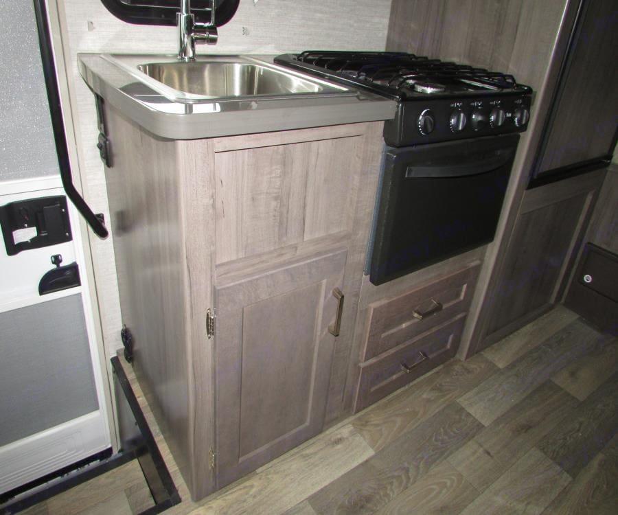 Kitchen and Sink set up. Winnebago Minnie Winnie 2020