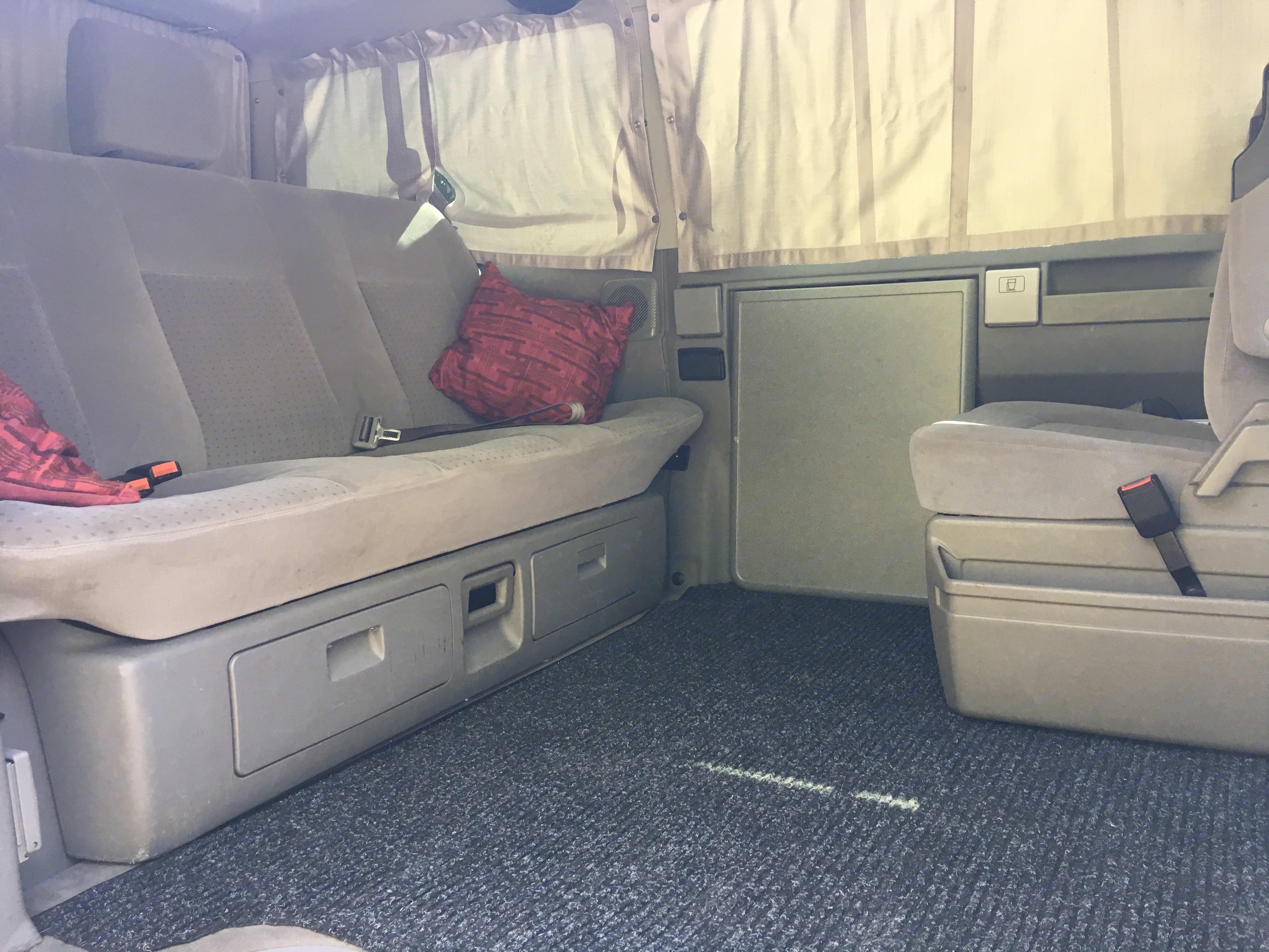 Interior with seat removed. Volkswagen Westfalia Weekender 2003
