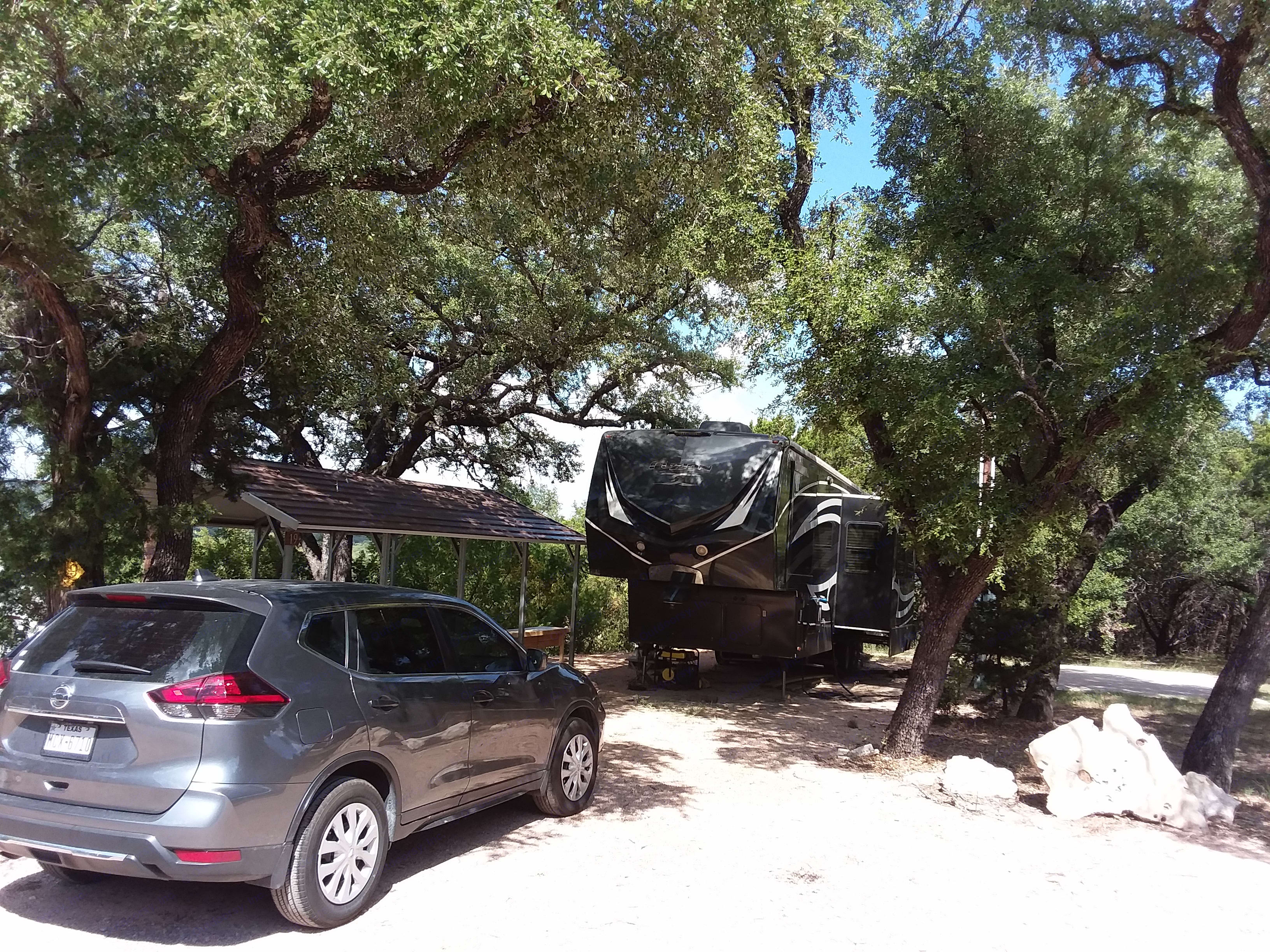 If you prefer RV. is hooked up to a lot in Marble Falls, TX. Can stay there with RV at no extra charge. . Keystone Fuzion 2013