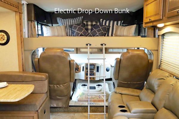 Power drop-down queen bunk with upgraded memory foam mattress.. Thor Motor Coach Windsport 2018