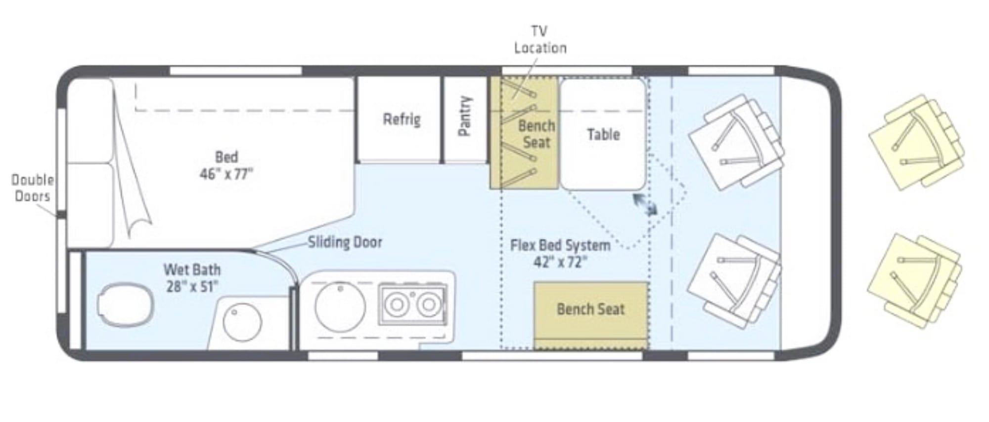 Floorplan from Winnebago. Winnebago Travato 2020