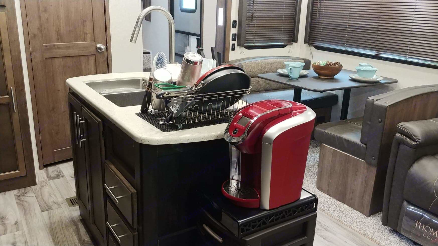 Spacious Kitchen with available Keurig  . Keystone Cougar 2018