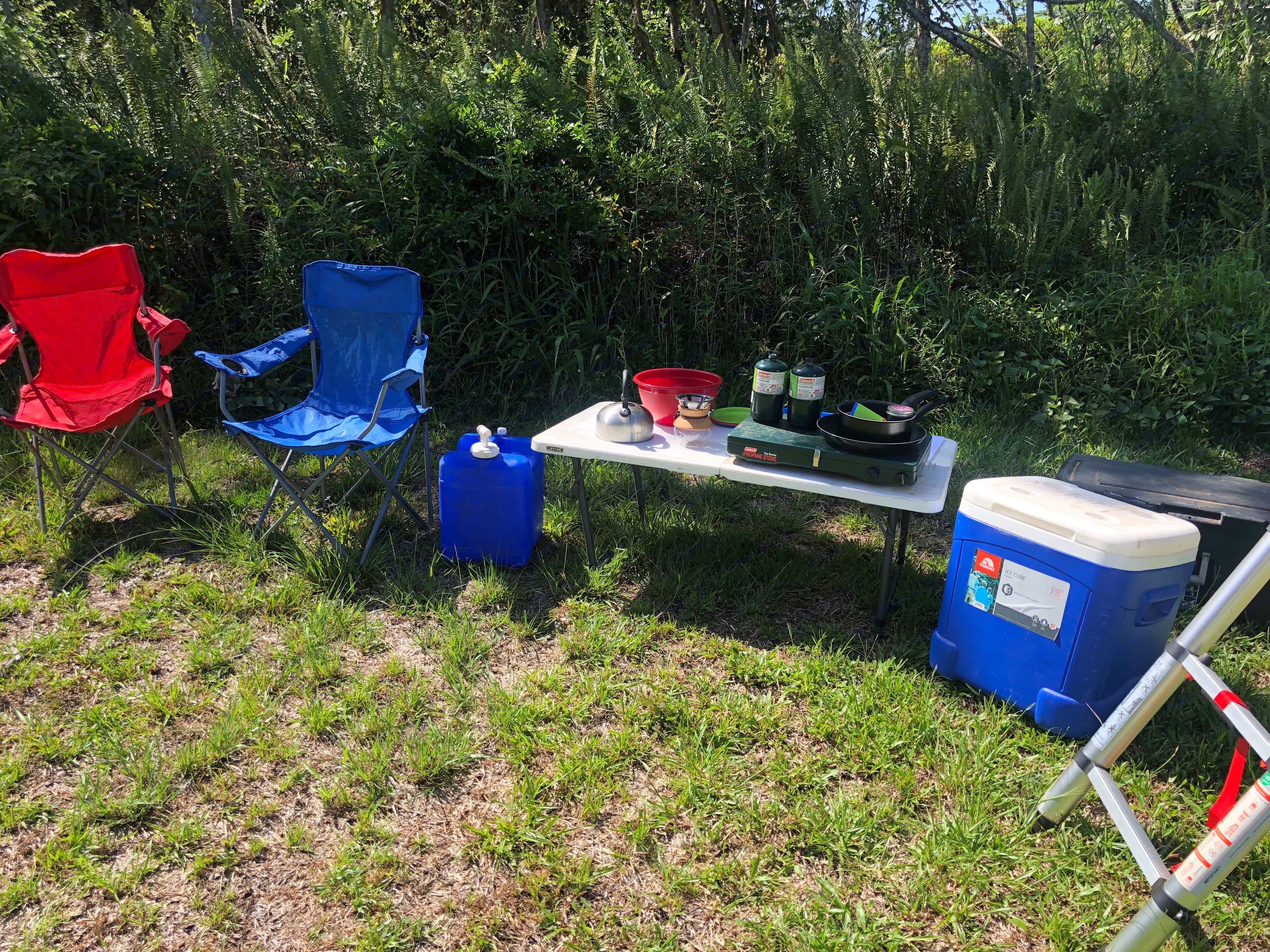 2 Chairs, Table, Cooler, 2 burner  Cook stove, propane, bed linens, towels, cookware, 5 gallons of water, Cooking supplies, coffee maker. Toyota Rav4 2011