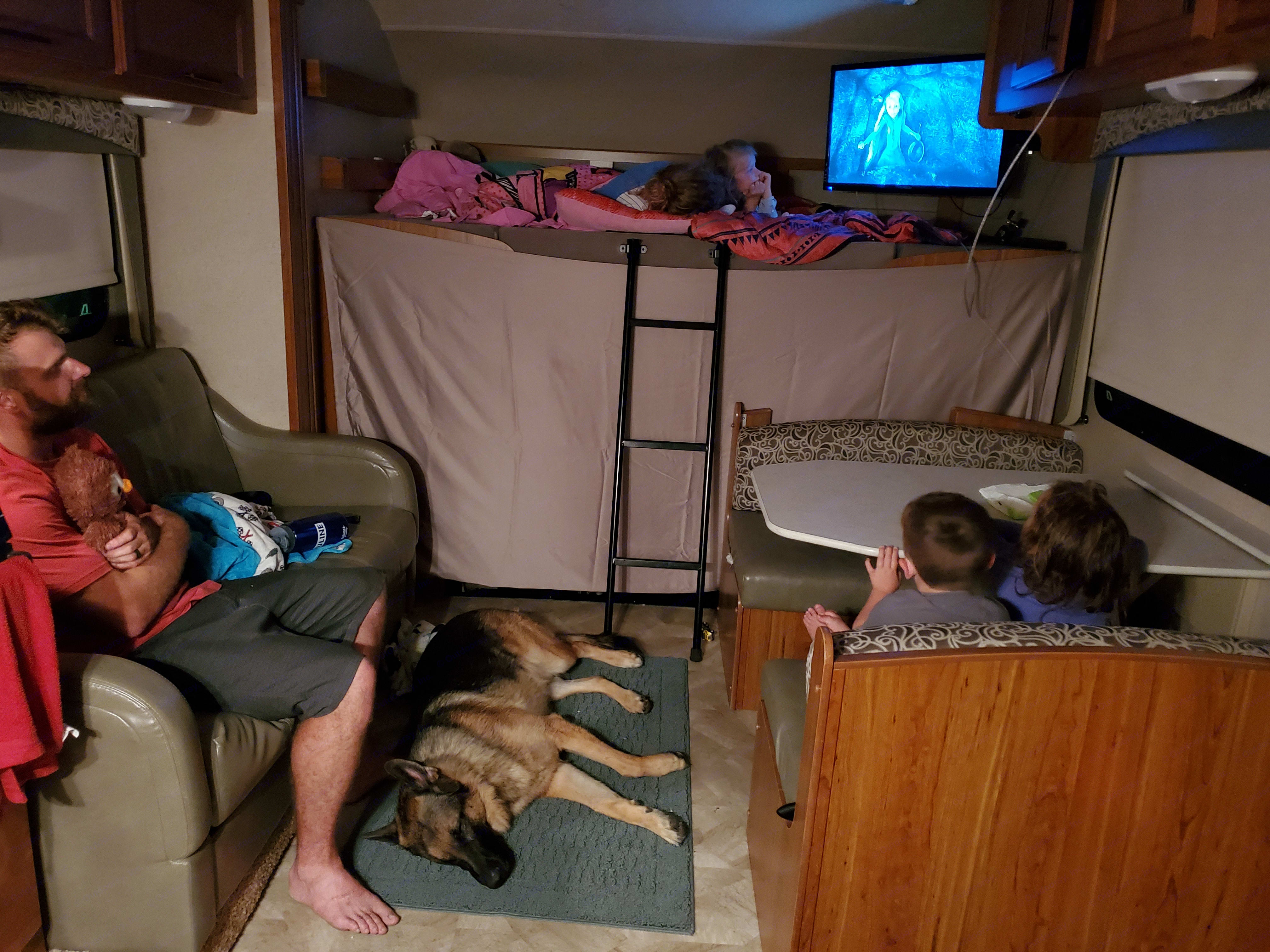 Family movie nights are still possible on the road with a nice flat screen tv and DVD player! Pop some popcorn in the microwave and snuggle up!. Jayco Redhawk 2017