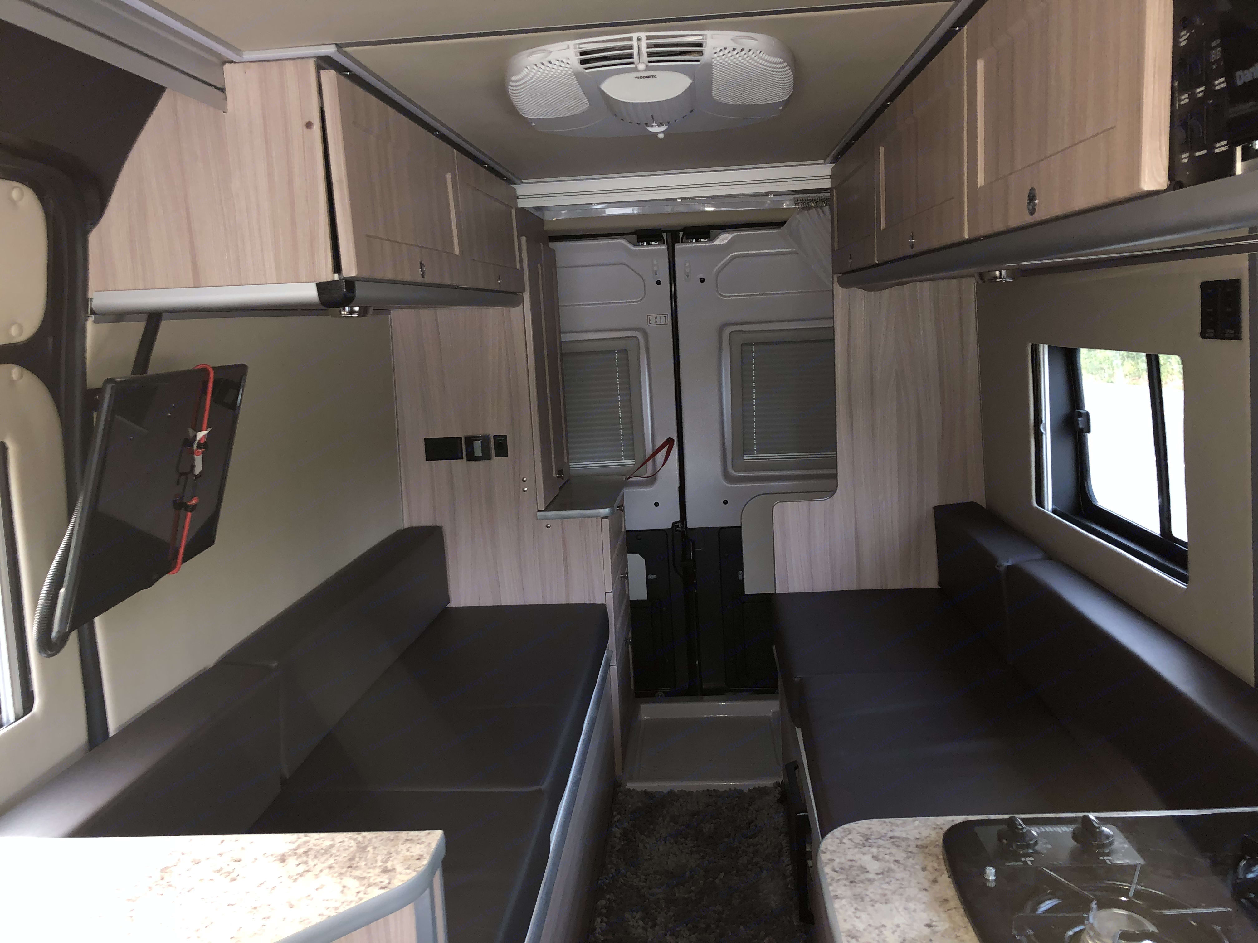 2 bench seats easily fold into King size bed. . Dodge Sunlight 2018