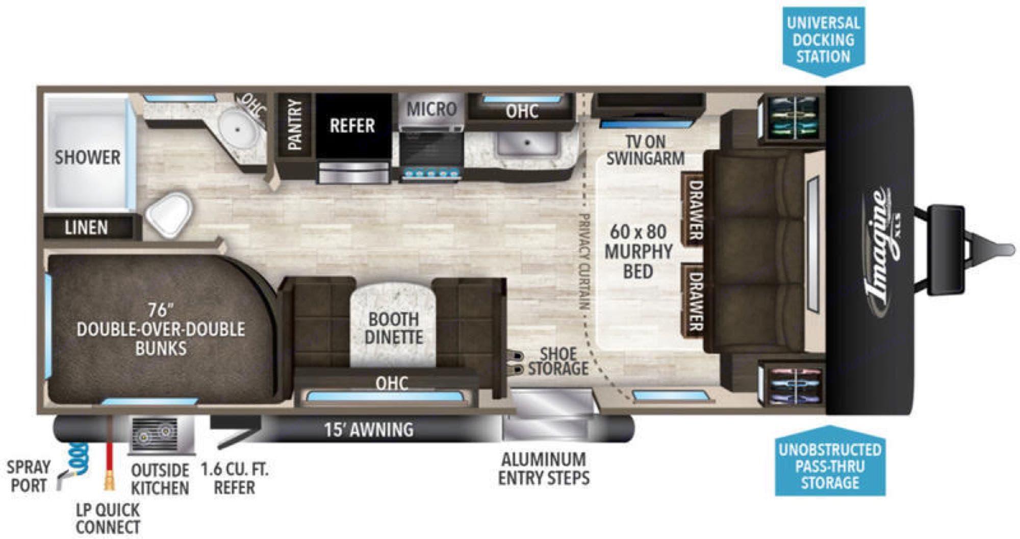 Imagine XLS floor plan. Grand Design Imagine XLS Bunkhouse 2019