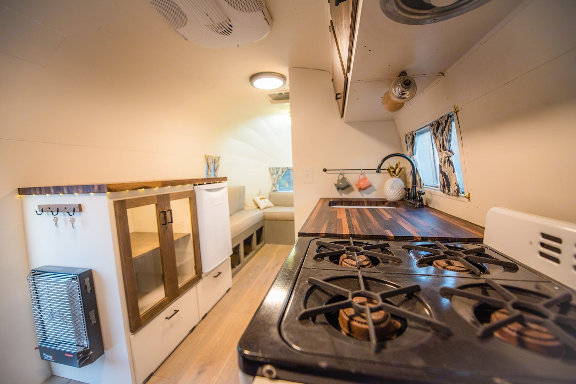 Looking across the interior, you will see the original stove. Airstream Flying Cloud 1954