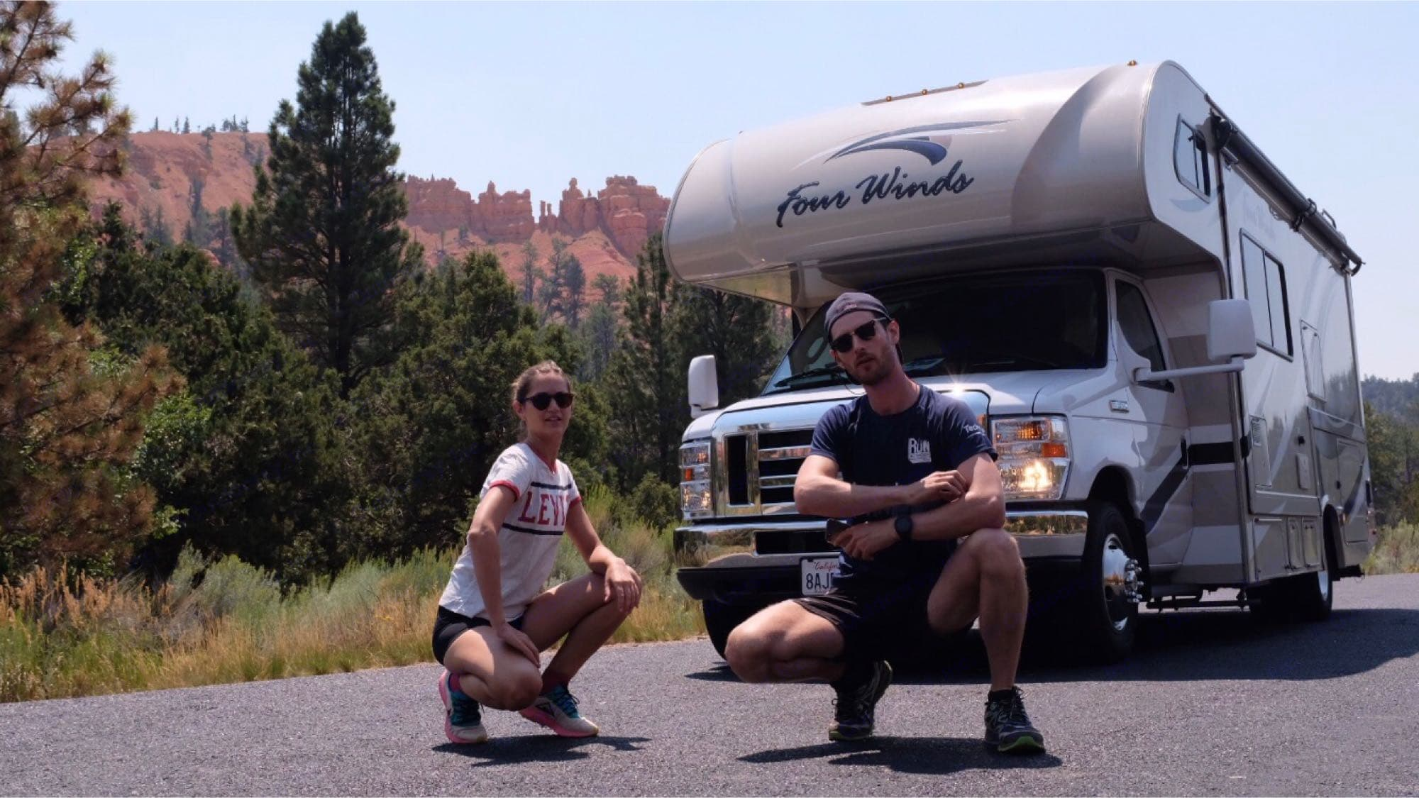 Nicholas and Elisabeth all the way from Paris, enjoying Zion and Bryce canyon 8-16-19. Thor Four winds 2018
