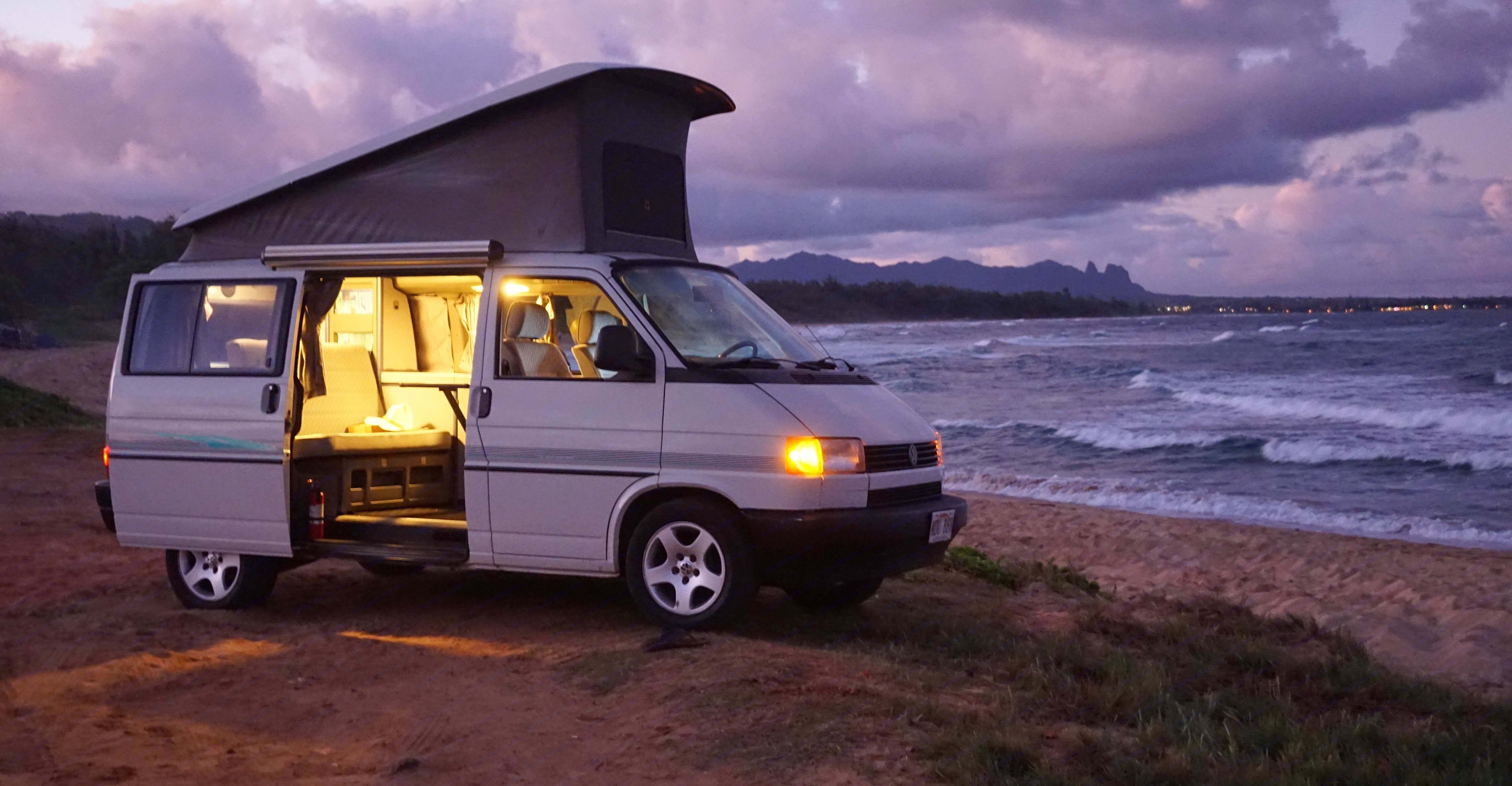"""Parking in the evening on Kauai beach. """"Life is not measured by the number of breaths we take, but by the moments that take our breath away"""" . Volkswagen Westfalia 1992"""