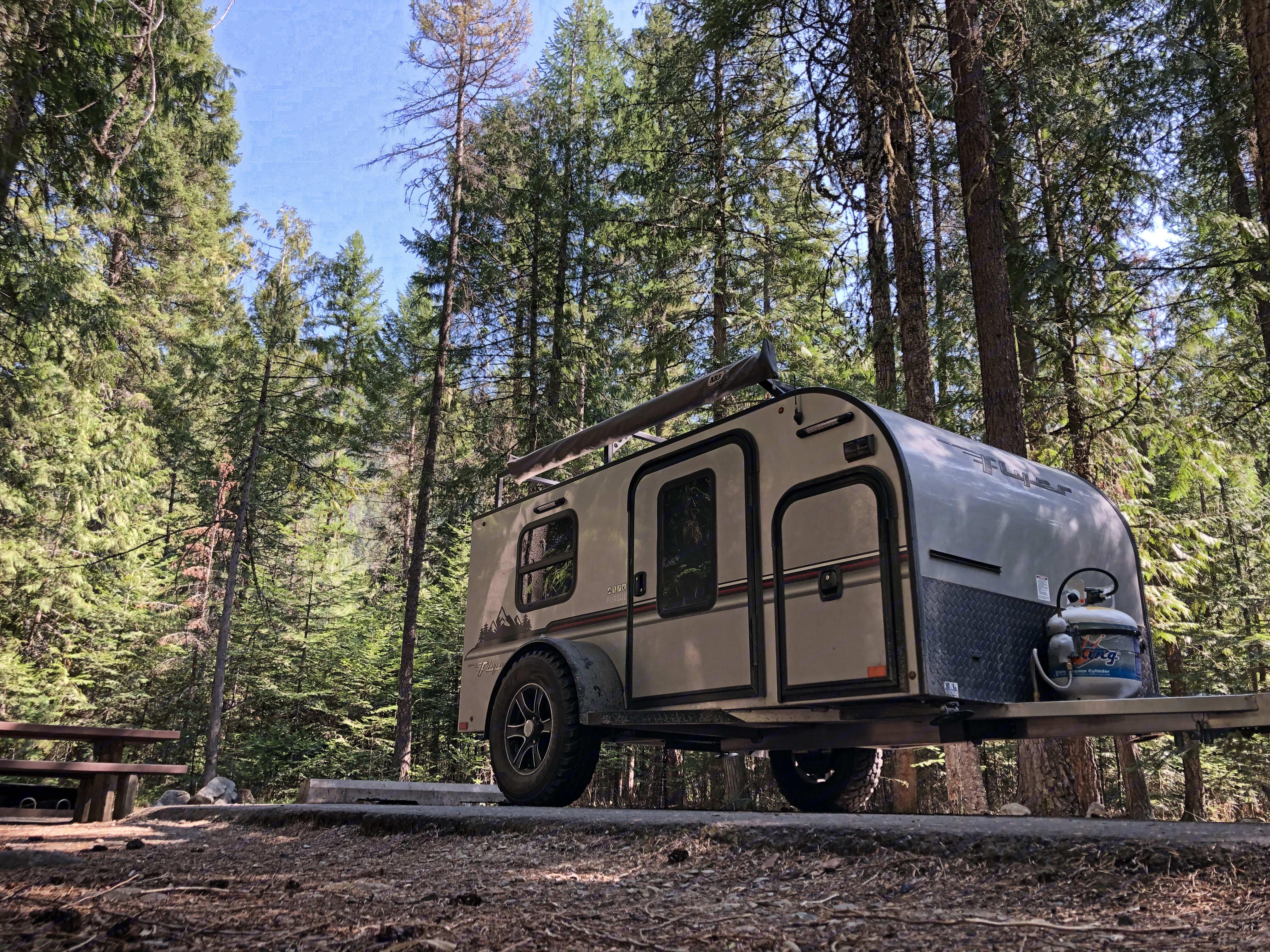 At campground in Idaho. InTech RV Flyer Pursue 2018