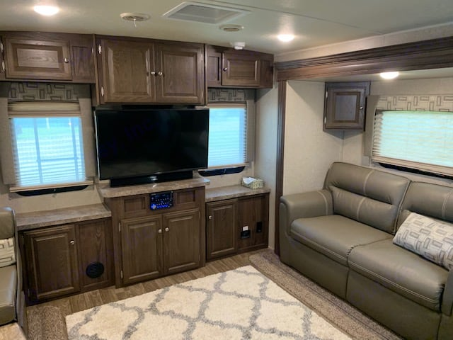 Rear Entertainment area with Sofa/sleeper. Forest River Flagstaff Super Lite 2019