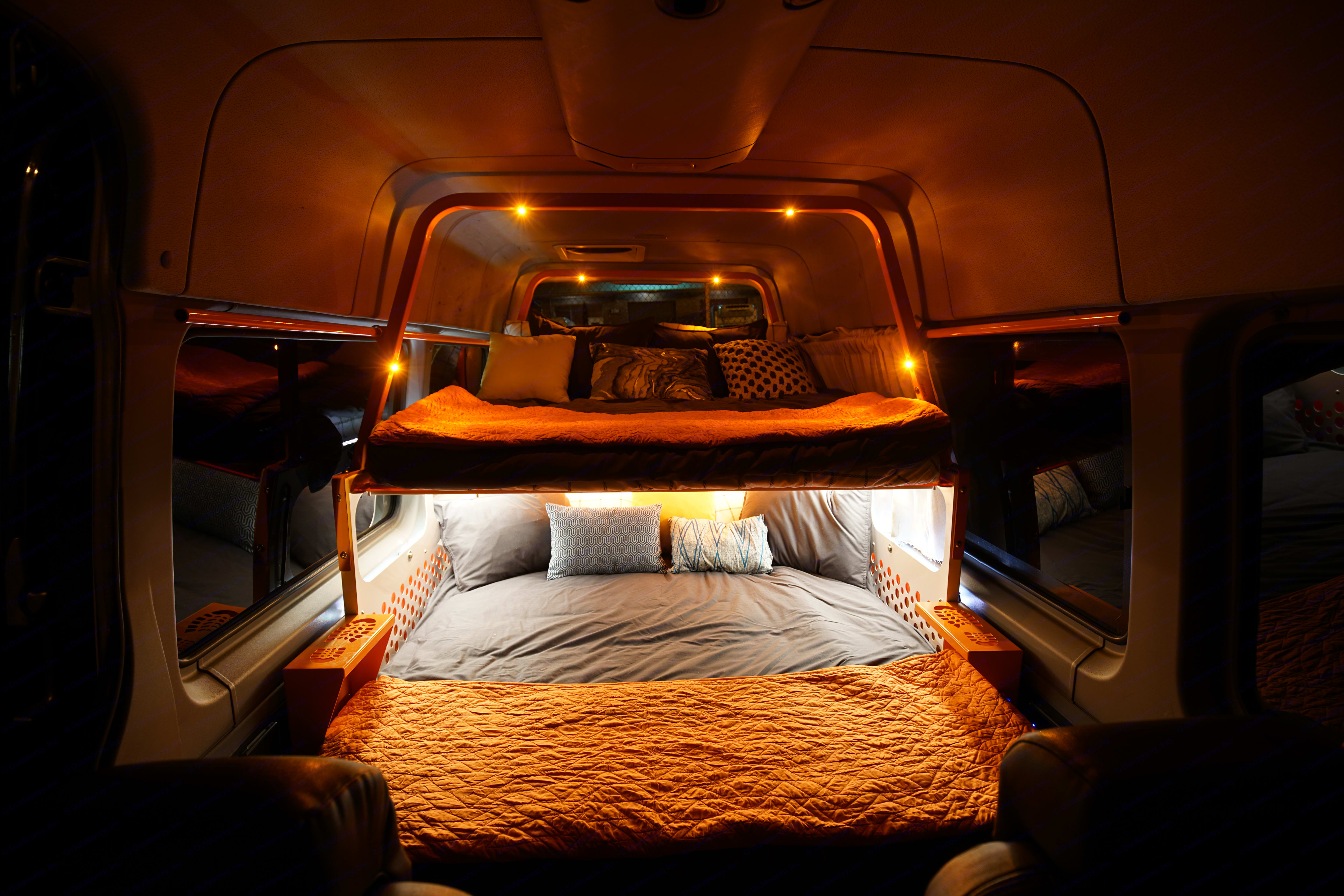 Our beautiful lighting system is sure to impress! Use our in-van iPad to toggle and control the lights- watch them dance to the beat of your songs!. Mercedes-Benz Sprinter 2013