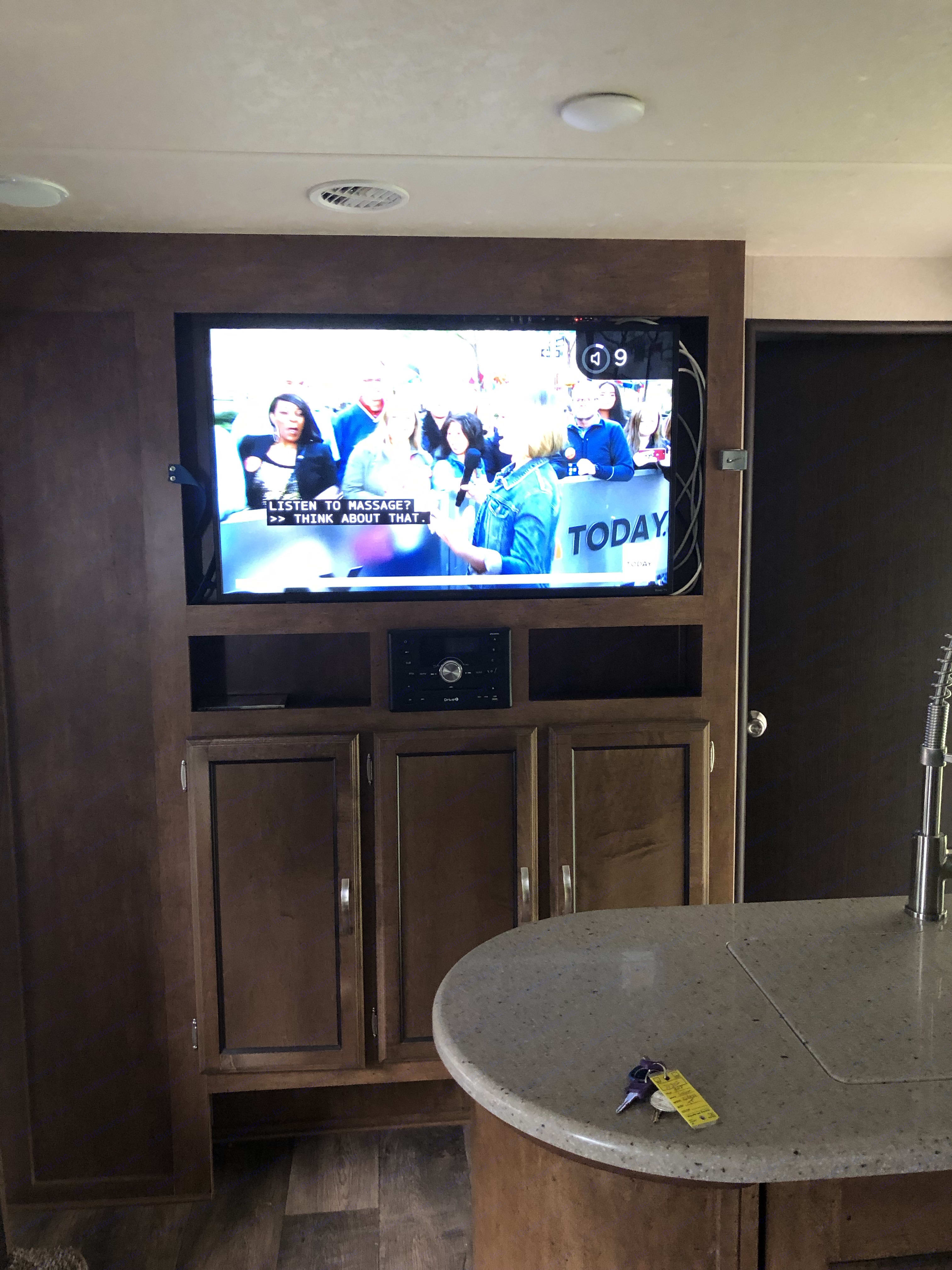 """43"""" Flat Screen TV/DVD with surround sound & radio, bluetooth and wifi capable for Roku. Watch the Sunday Football game!. Forest River Salem 2018"""