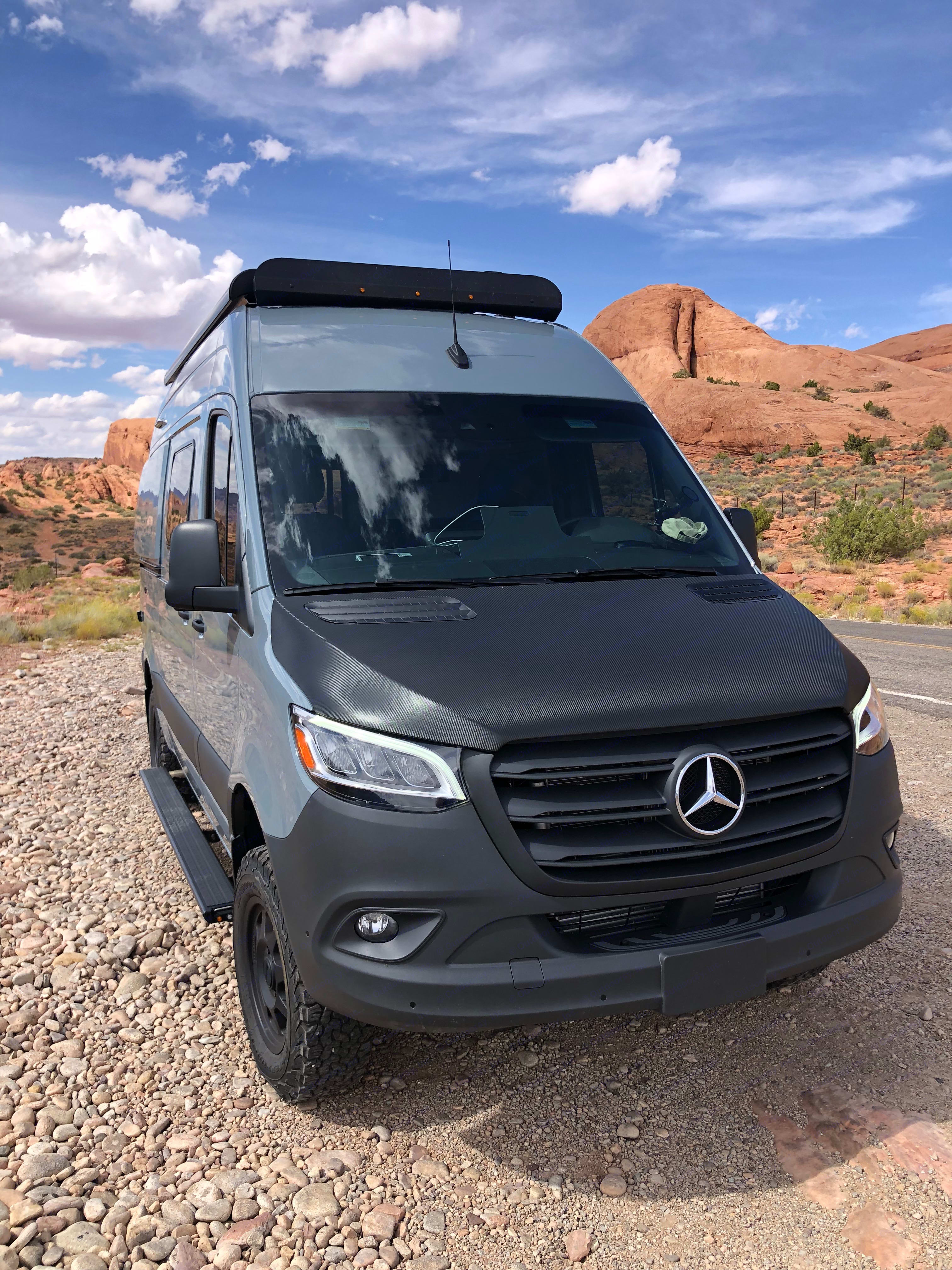Home base while Jeeping trails in Moab, UT. Winnebago Mercedes Sprinter 2020