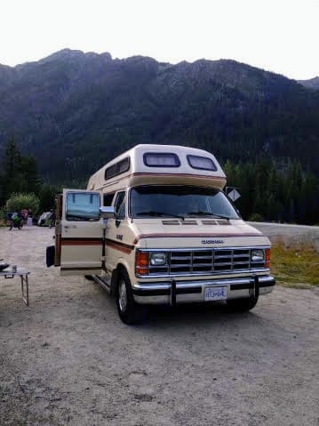 An adventure pic from a renter, in Whistler, BC.. Great West Vans Classic Royale 1988