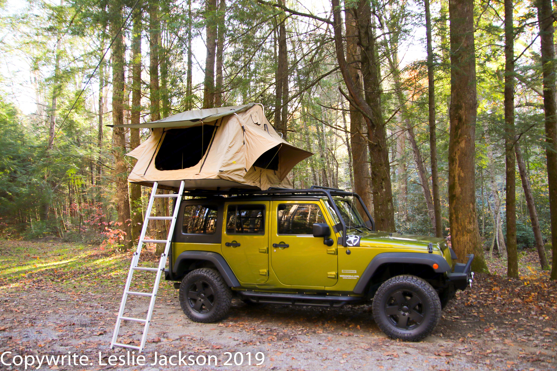 Full tent setup. Jeep Wrangler Overland 2010