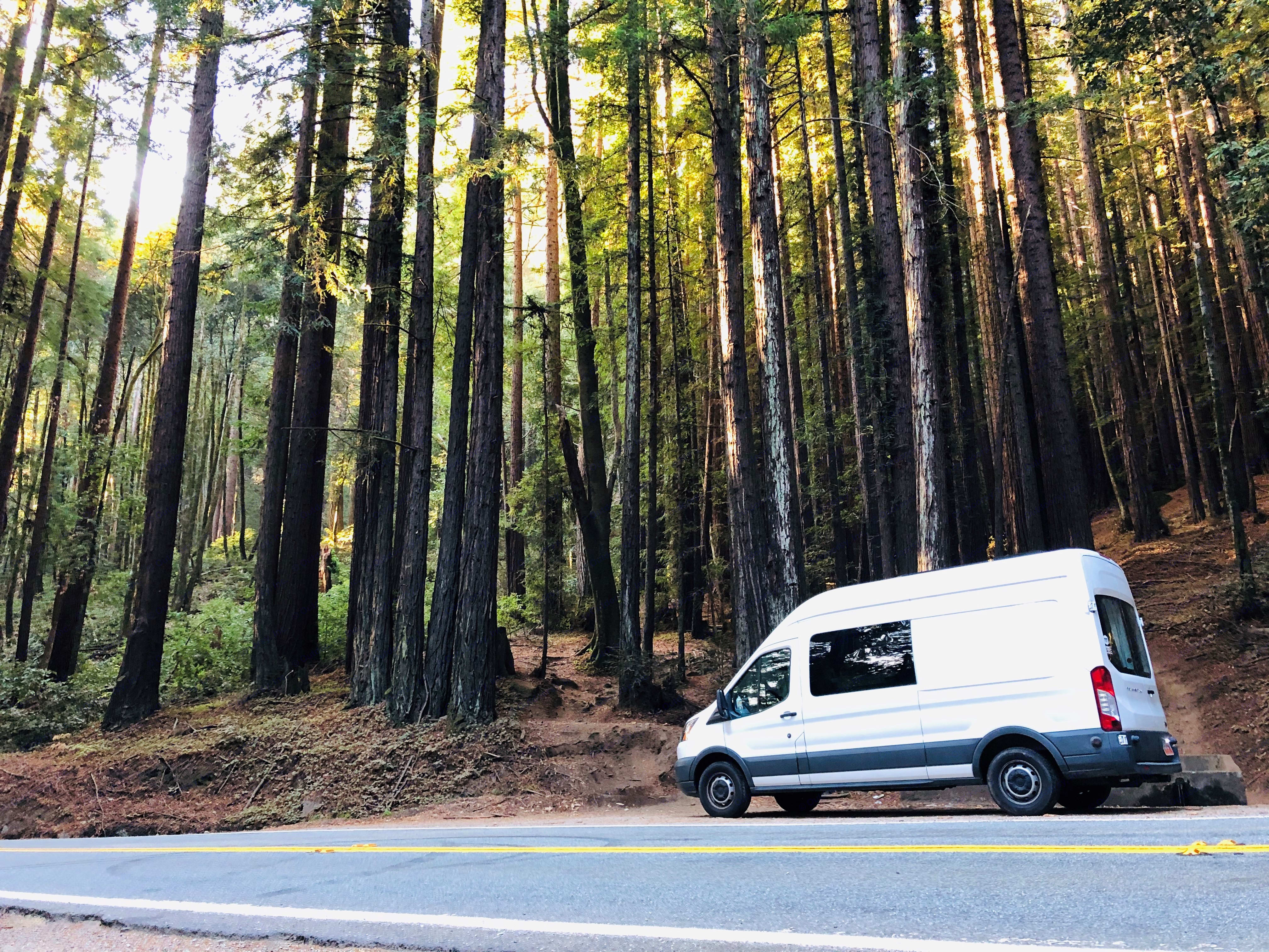 Redwoods is the home of the Van. Within 5 minutes after your arrival. You can start glamping along beautiful HWY9. Ford Transit 2015