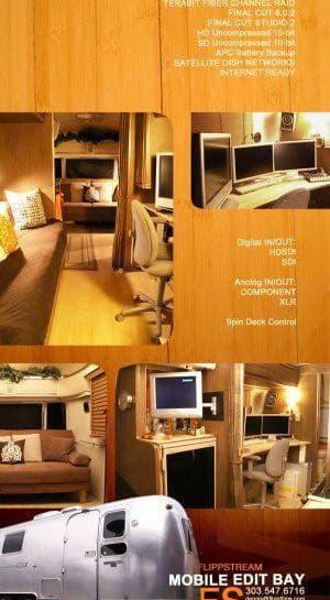 Mobil Office Setup. Airstream Safari 1974