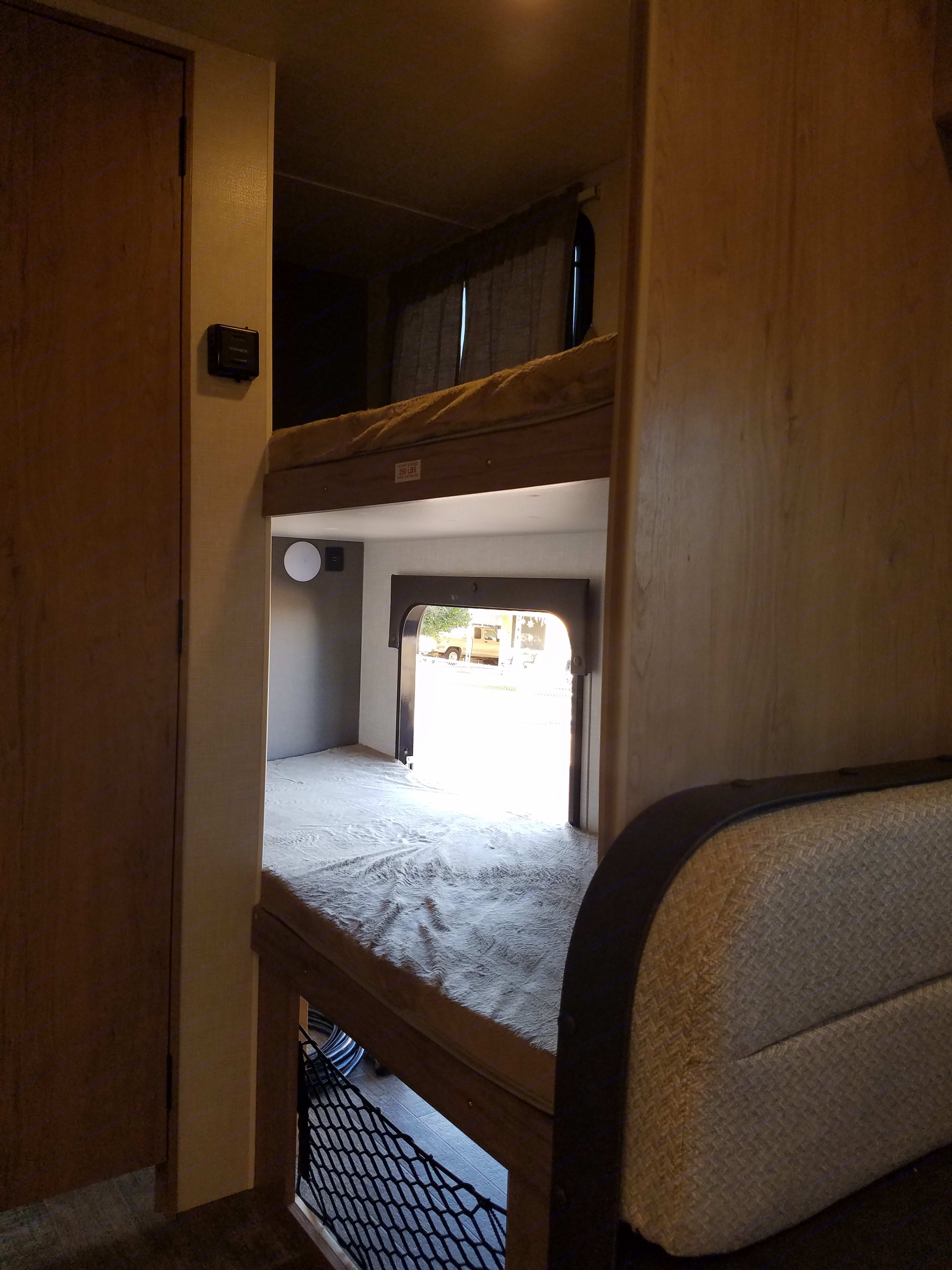 Bottom bunk with outside access for easy storage. Winnebago Micro Minnie 2020