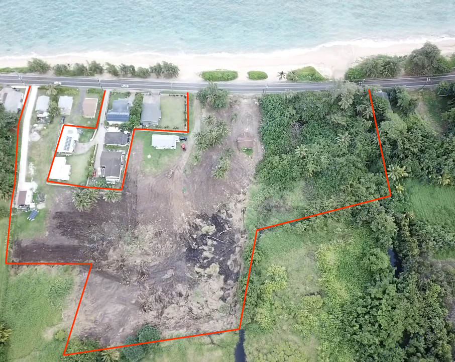 This is our AG property, see the gorgeous sandy beach? We currently have spots to park, outdoor hot shower, and a port-a potty on site. You can park anywhere, the grass, or in between the coconut trees... etc. Dodge Promaster 2018