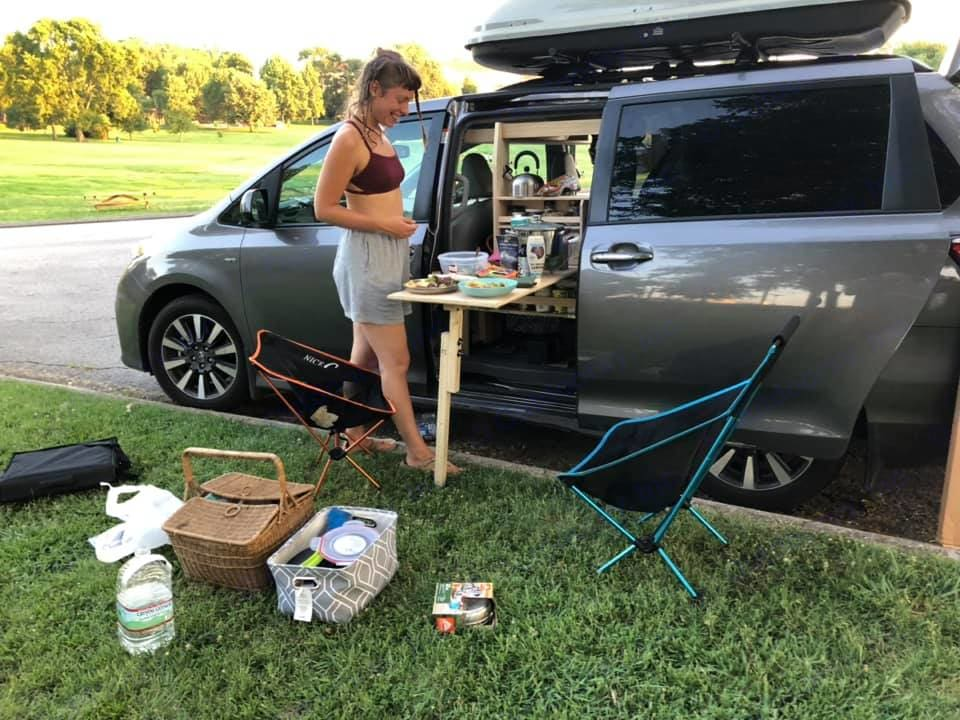 Pop-out galley, cooking station and table with food storage and spice rack. Toyota Sienna 2018