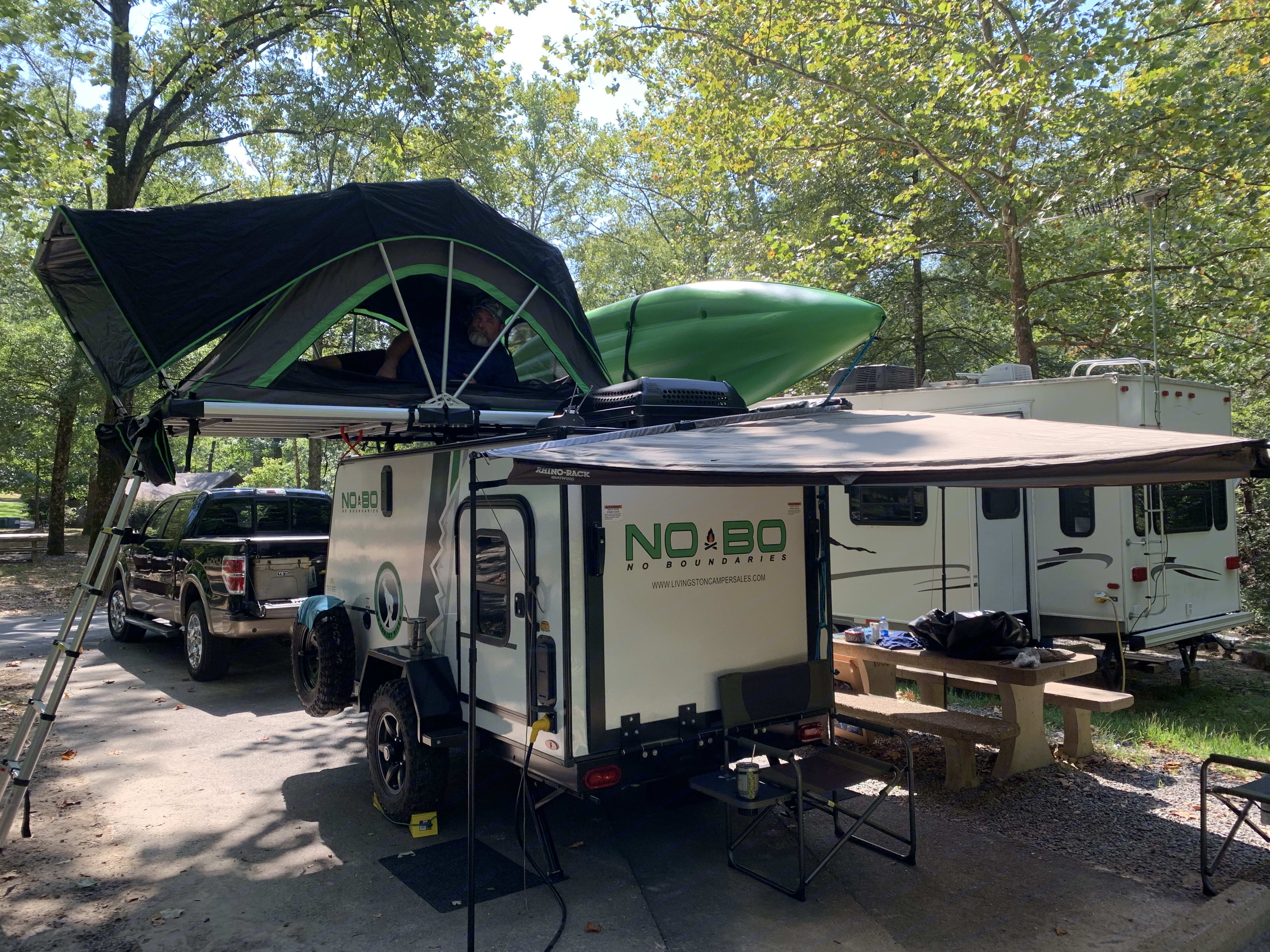 Fully set up with tent and batwing awning. So much usable space in an easy to haul unit.. Forest River No Boundaries 10.6 2019
